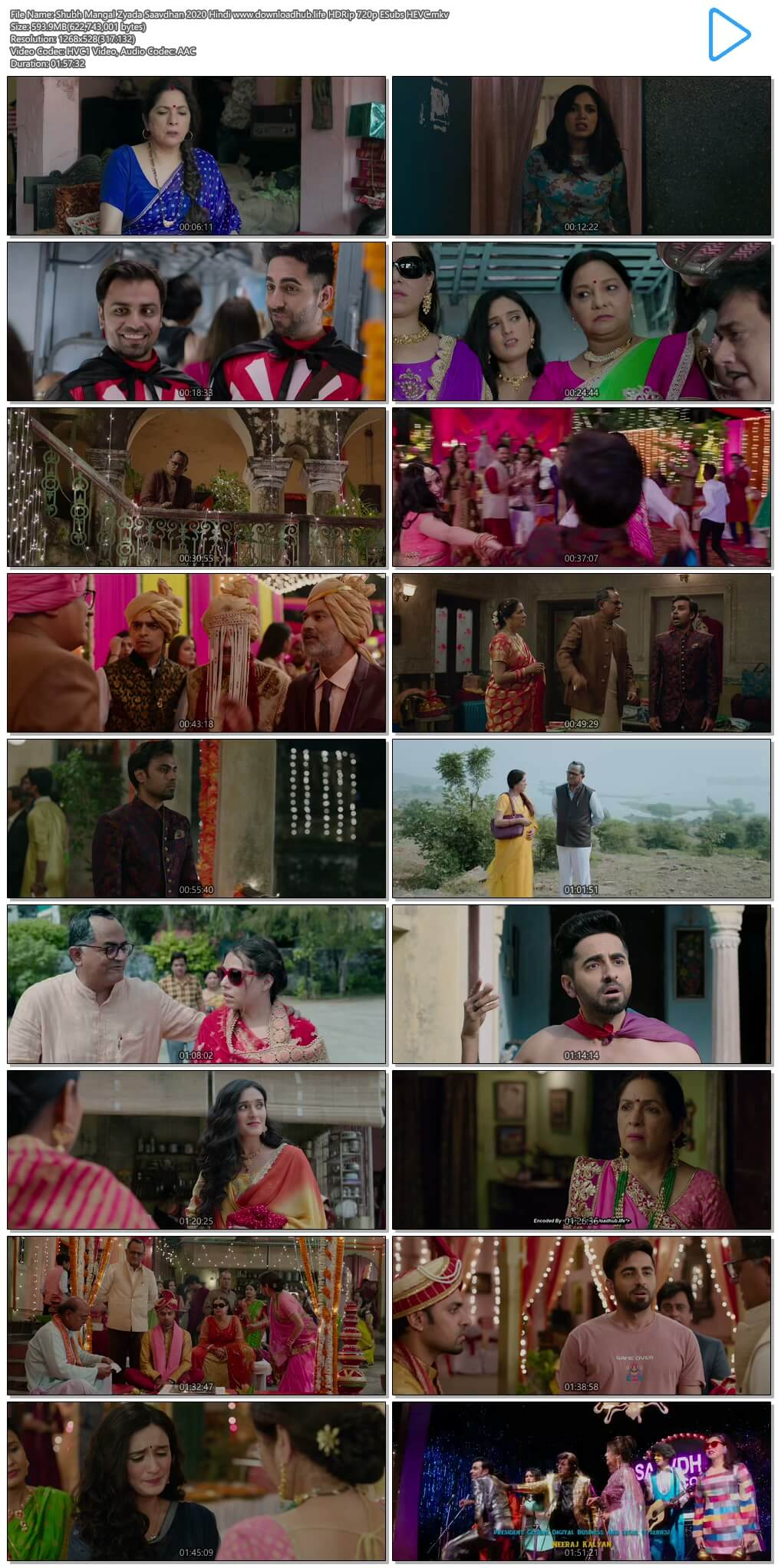 Shubh Mangal Zyada Saavdhan 2020 Hindi 600MB HDRip 720p ESubs HEVC