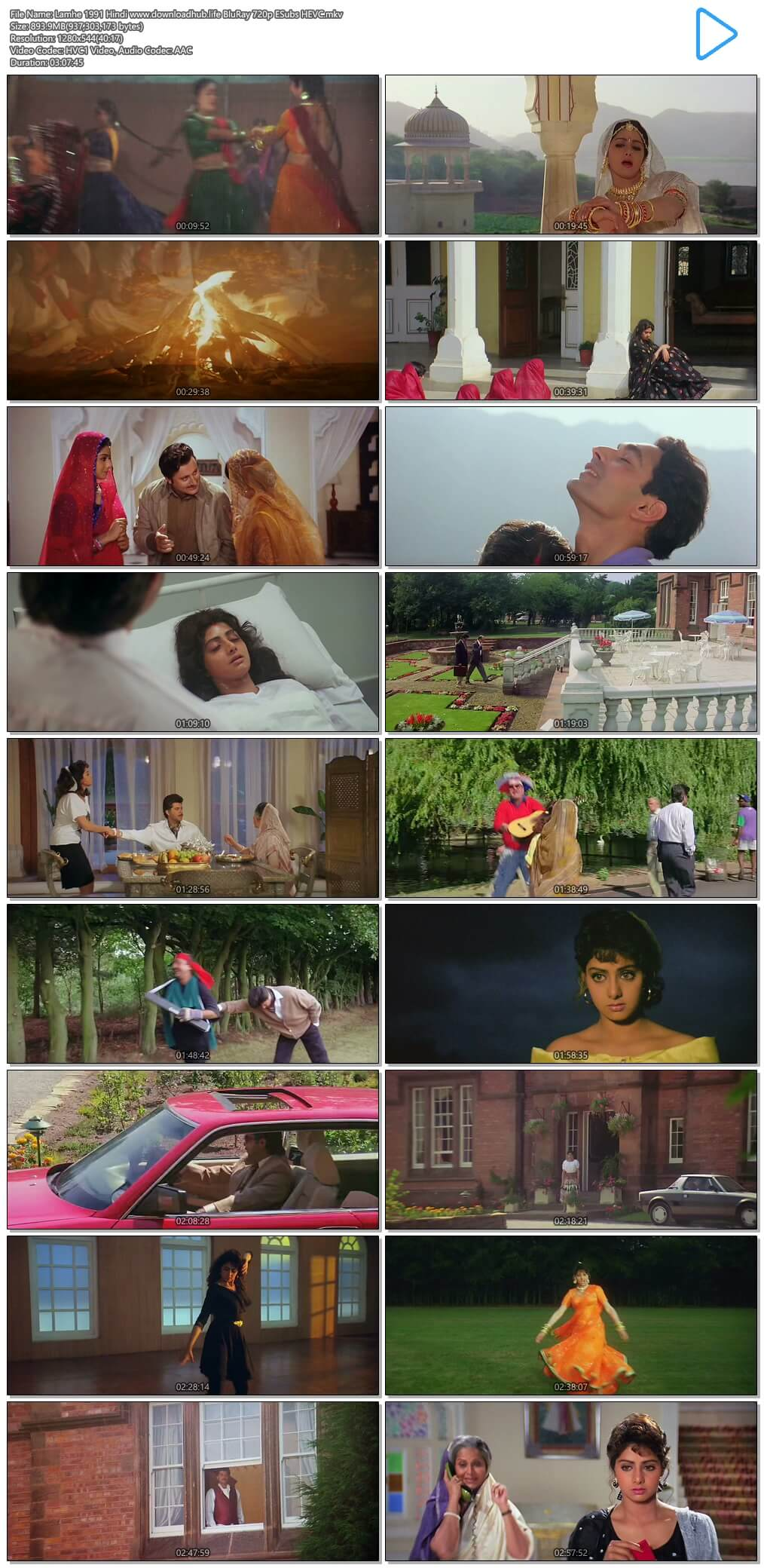 Lamhe 1991 Hindi 900MB BluRay 720p ESubs HEVC