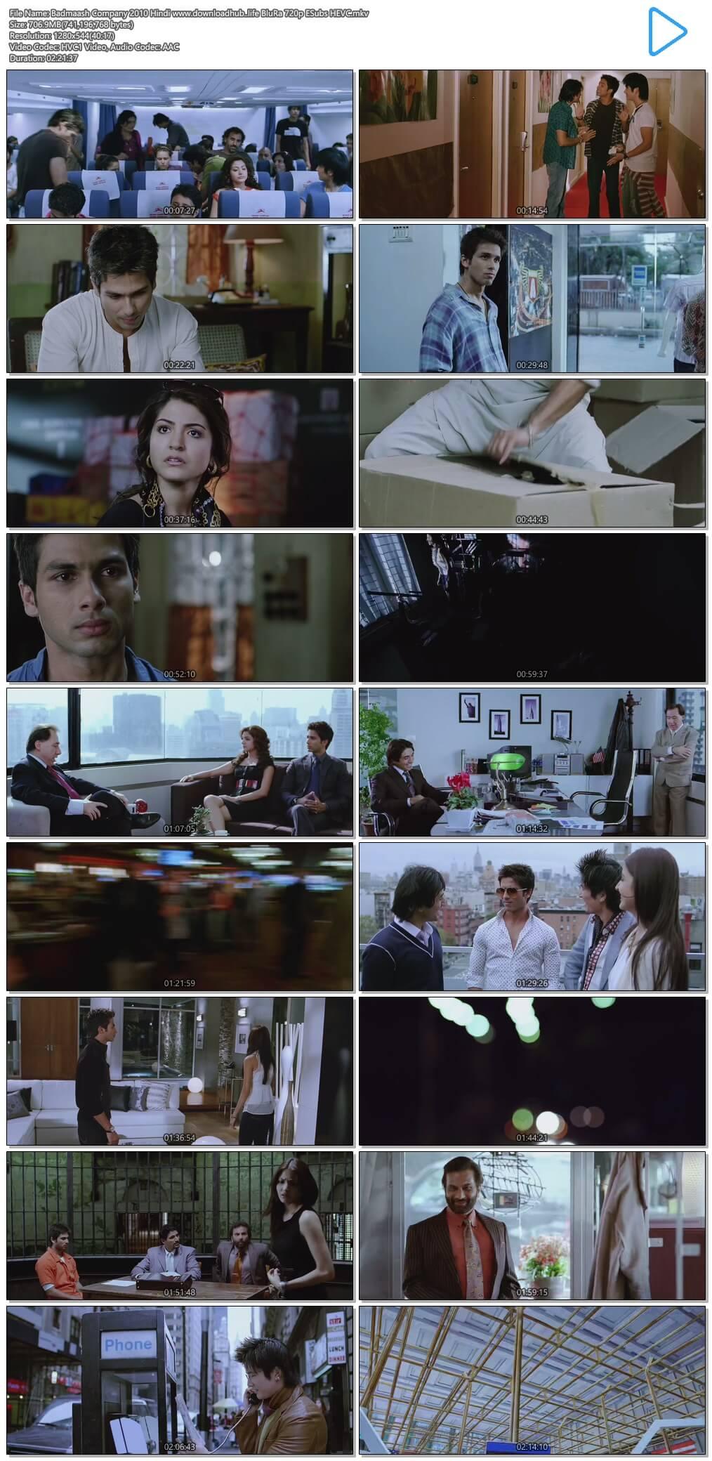 Badmaash Company 2010 Hindi 700MB BluRay 720p ESubs HEVC