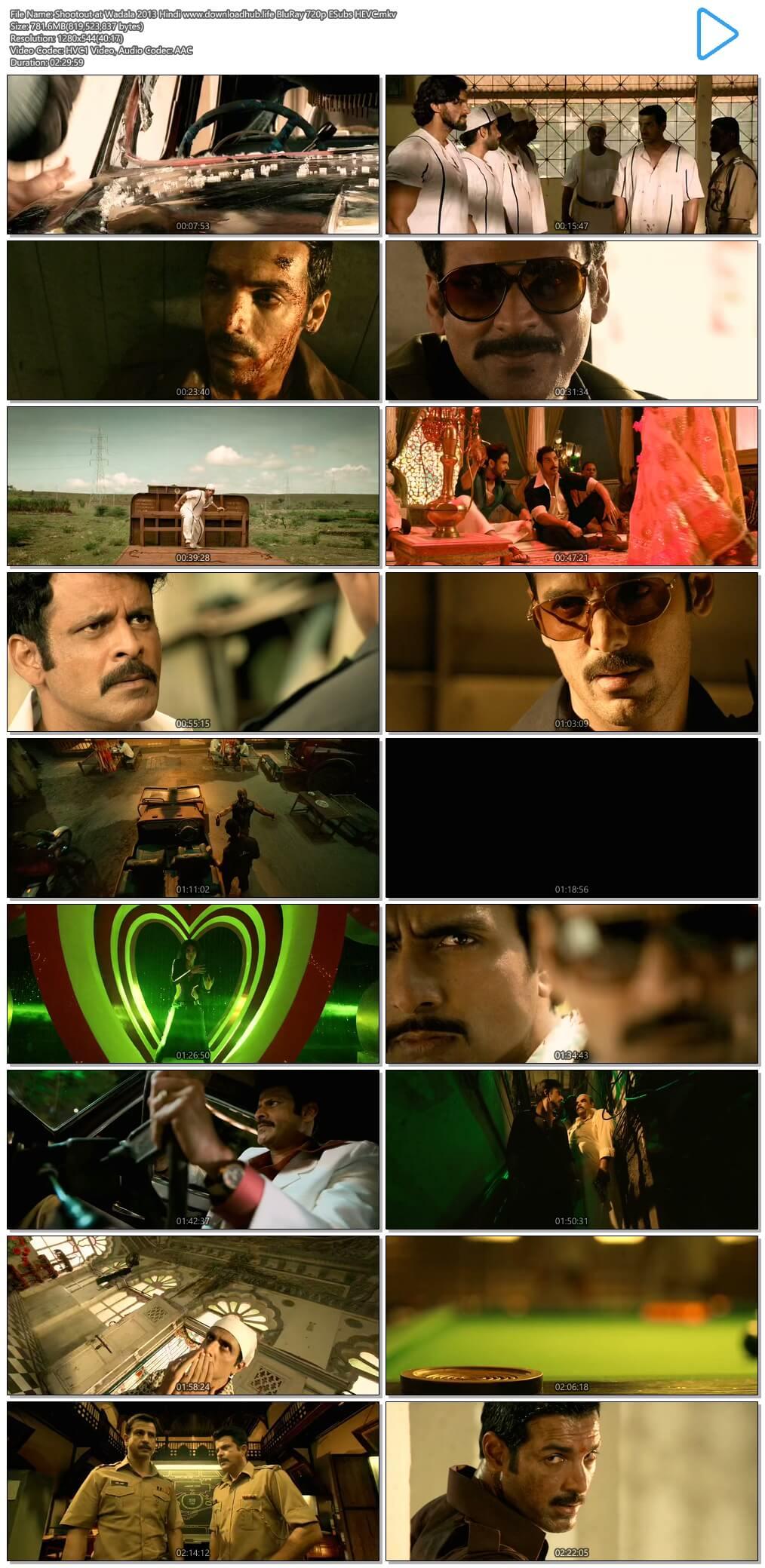Shootout at Wadala 2013 Hindi 750MB BluRay 720p ESubs HEVC