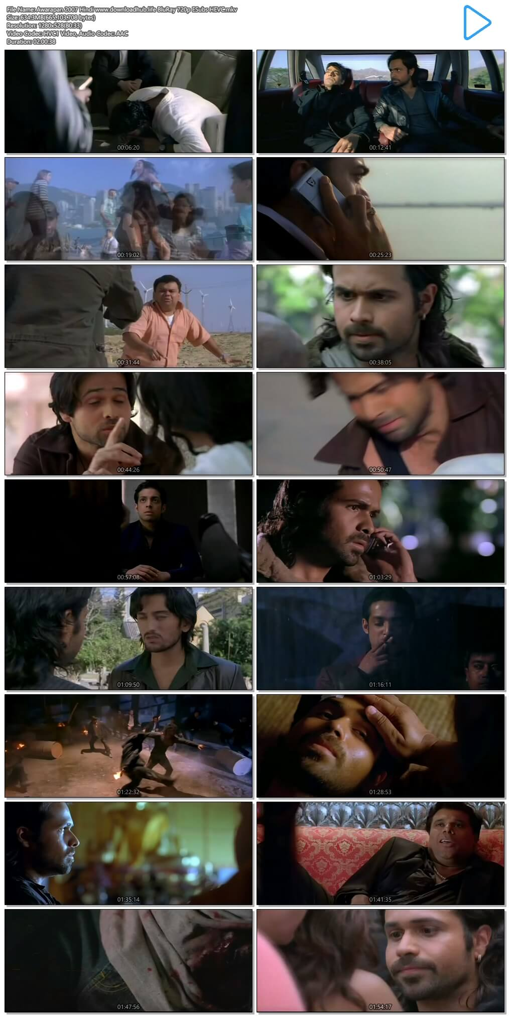 Awarapan 2007 Hindi 600MB BluRay 720p ESubs HEVC
