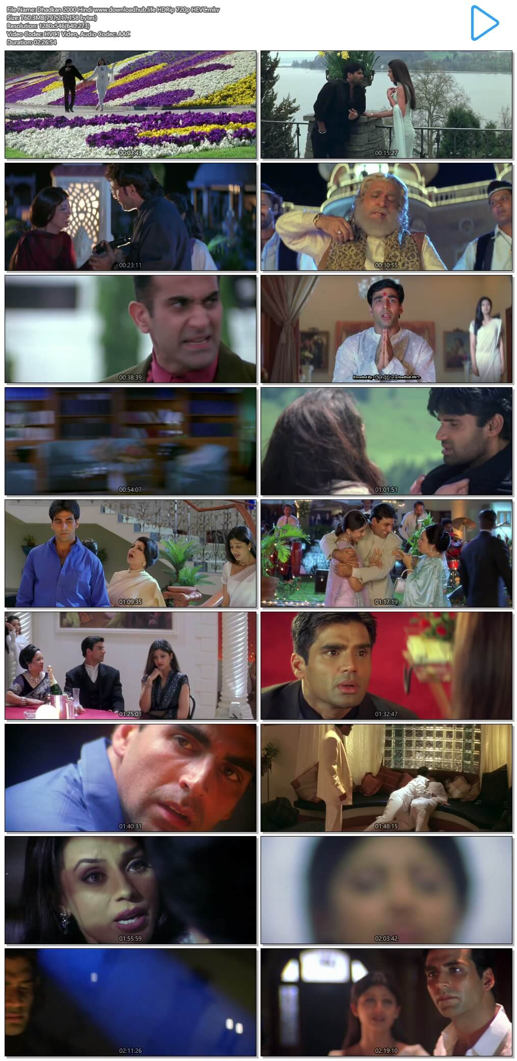 Dhadkan 2000 Hindi 750MB HDRip 720p HEVC