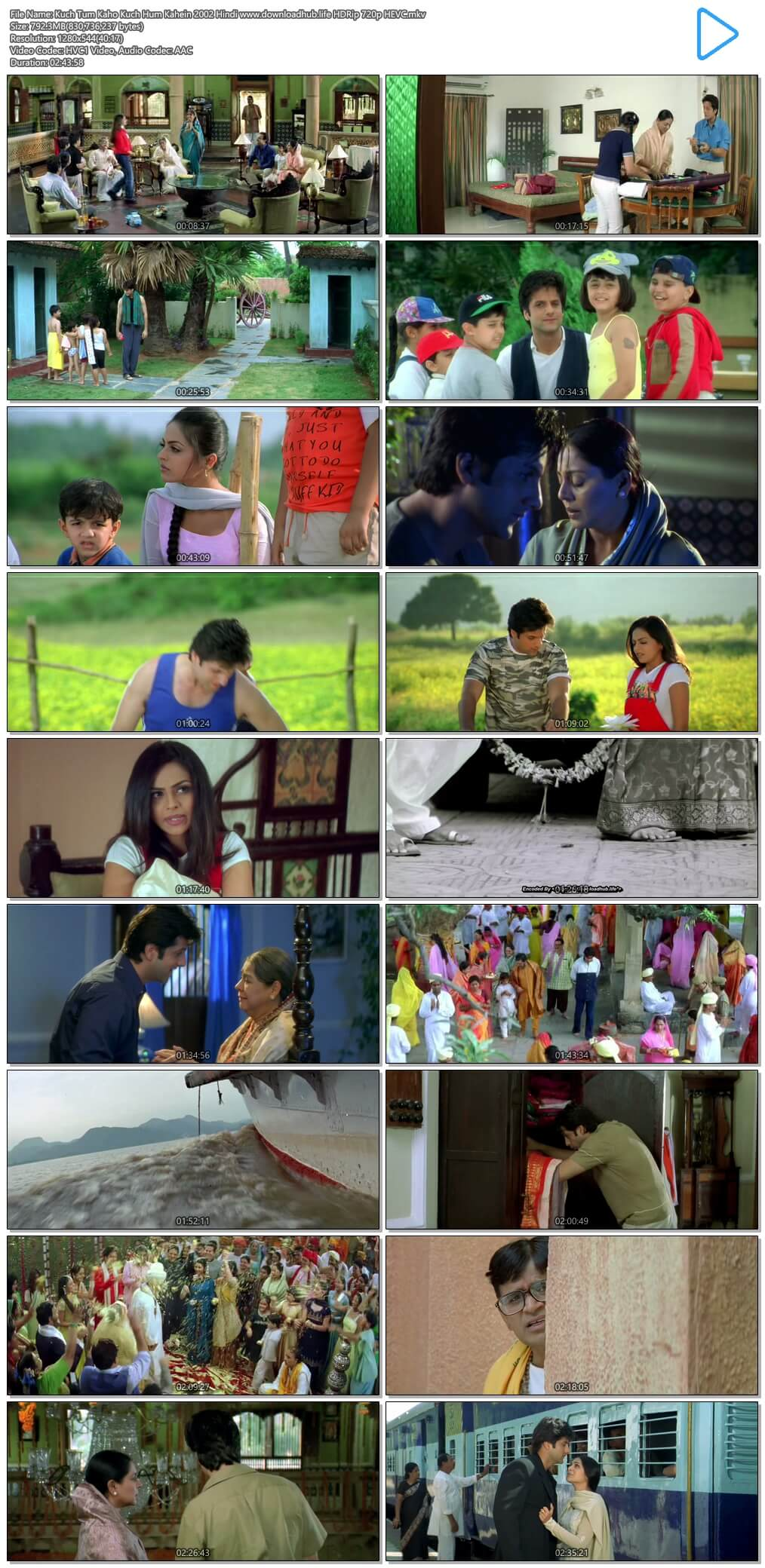 Kuch Tum Kaho Kuch Hum Kahein 2002 Hindi 800MB HDRip 720p HEVC