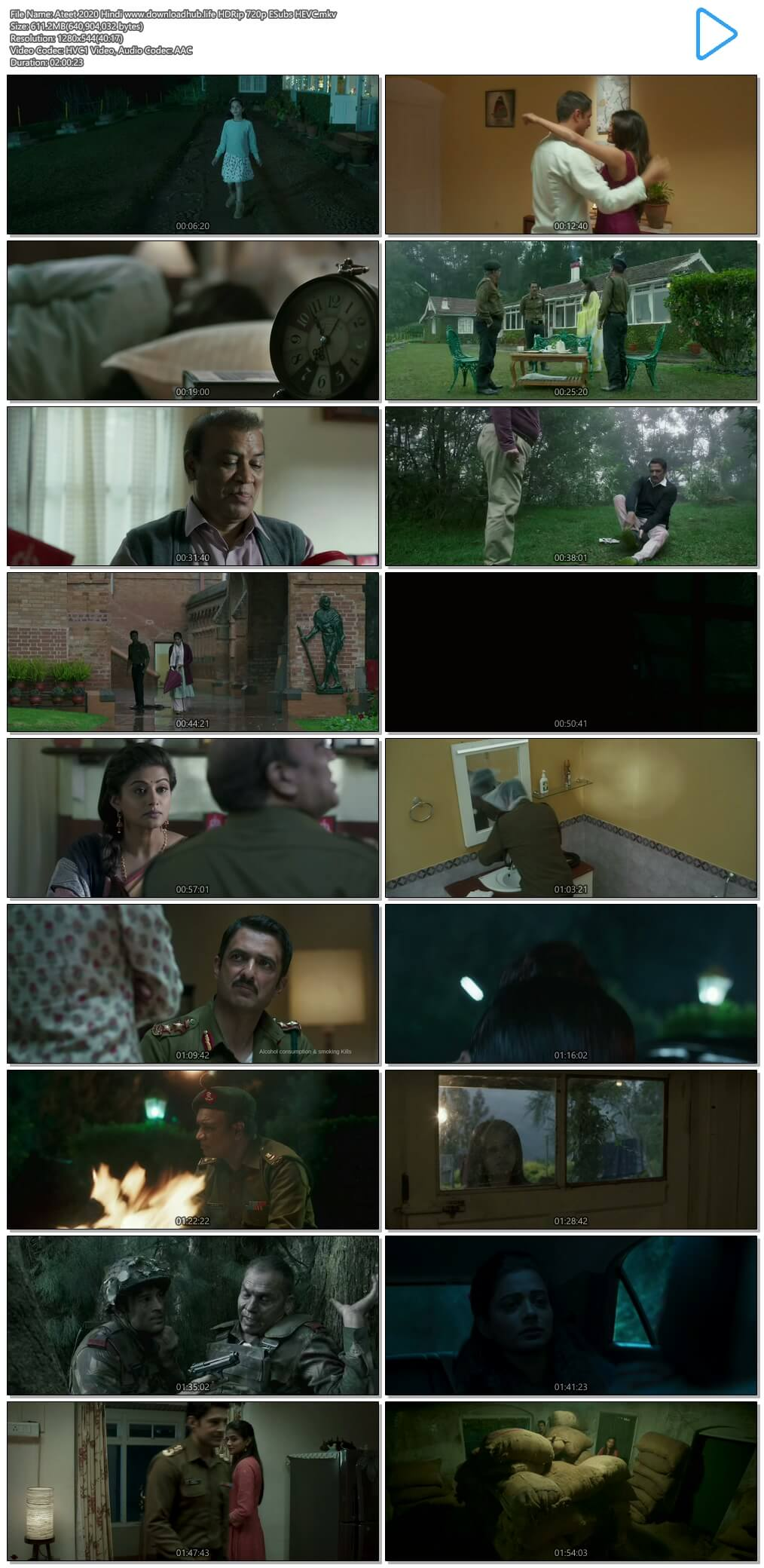 Ateet 2020 Hindi 600MB HDRip 720p ESubs HEVC