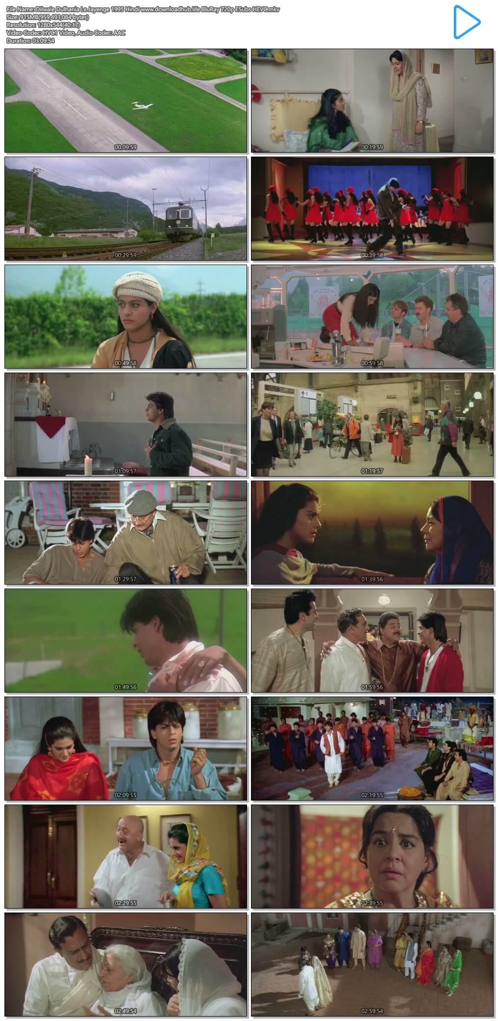 Dilwale Dulhania Le Jayenge 1995 Hindi 900MB BluRay 720p ESubs HEVC