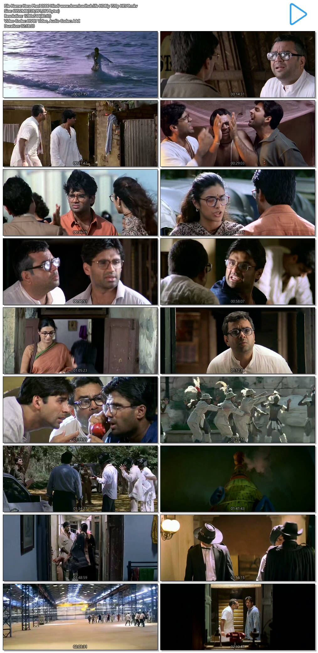 Hera Pheri 2000 Hindi 700MB HDRip 720p HEVC
