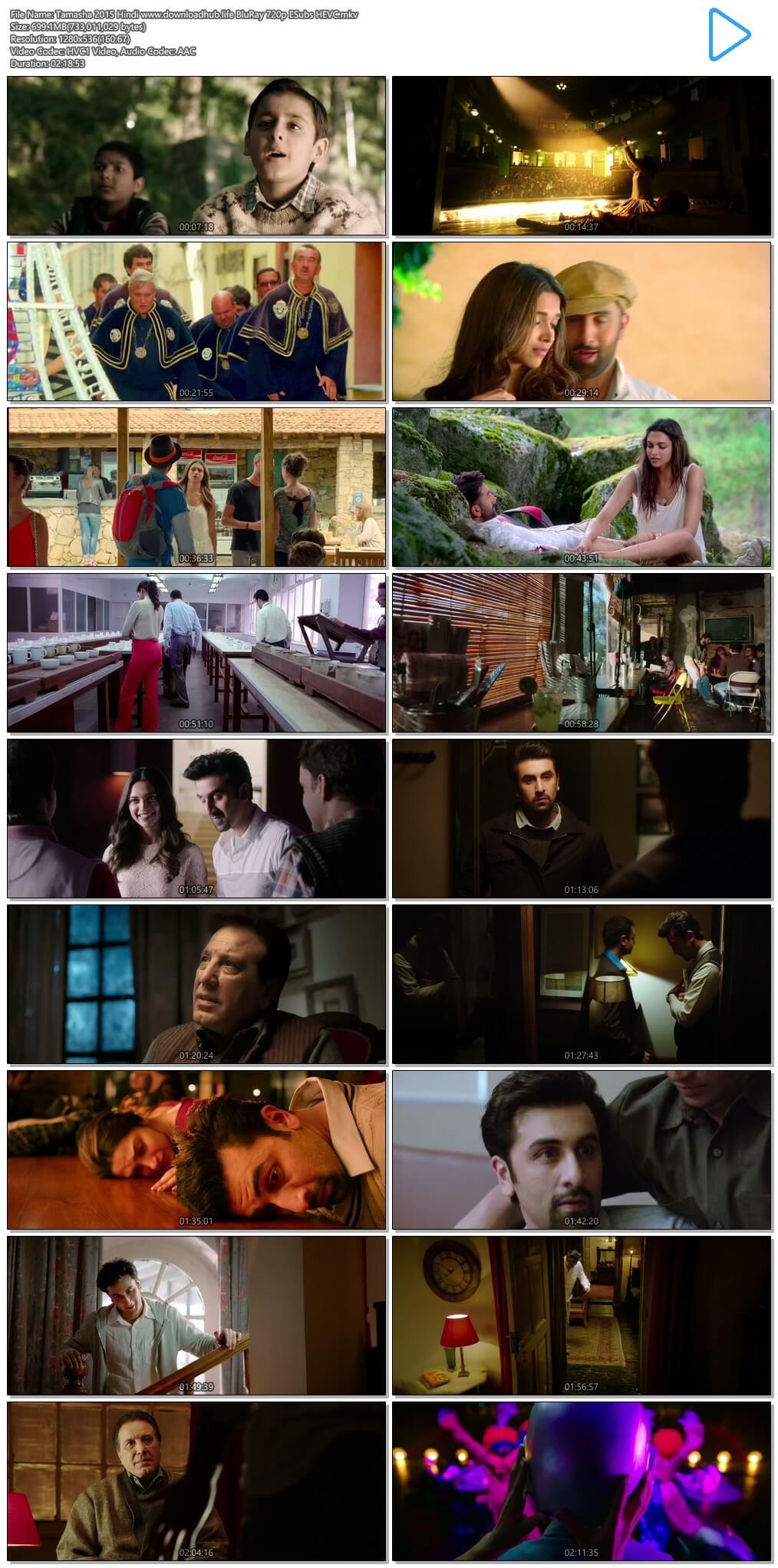 Tamasha 2015 Hindi 700MB BluRay 720p ESubs HEVC