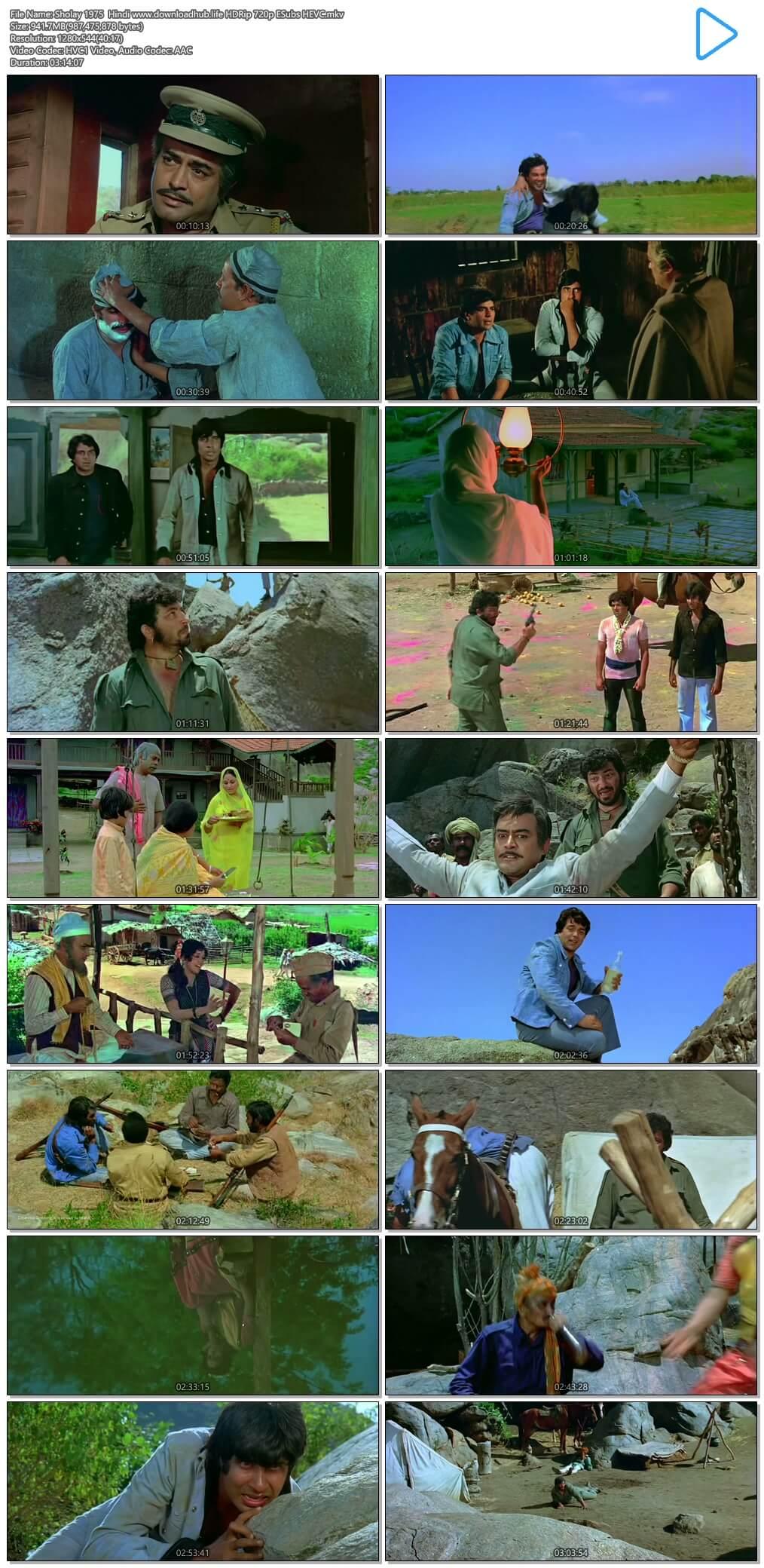Sholay 1975 Hindi 900MB HDRip 720p ESubs HEVC
