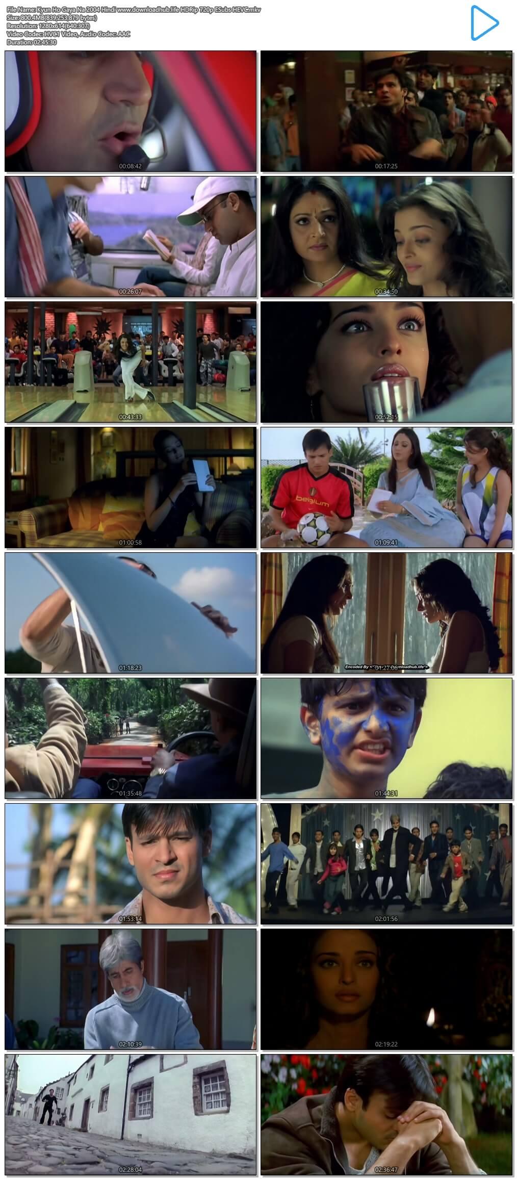 Kyun Ho Gaya Na 2004 Hindi 800MB HDRip 720p ESubs HEVC