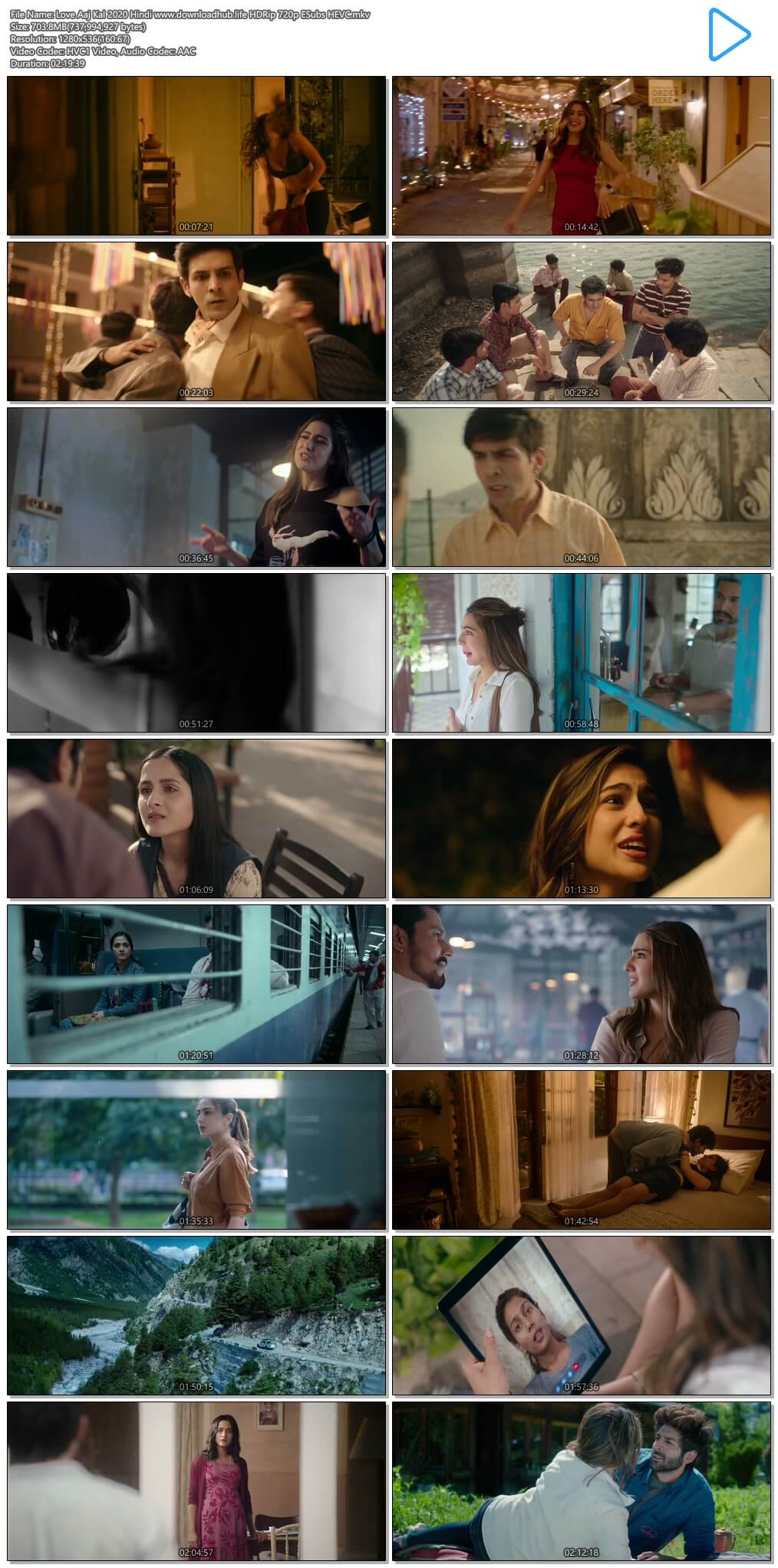 Love Aaj Kal 2020 Hindi 700MB HDRip 720p ESubs HEVC
