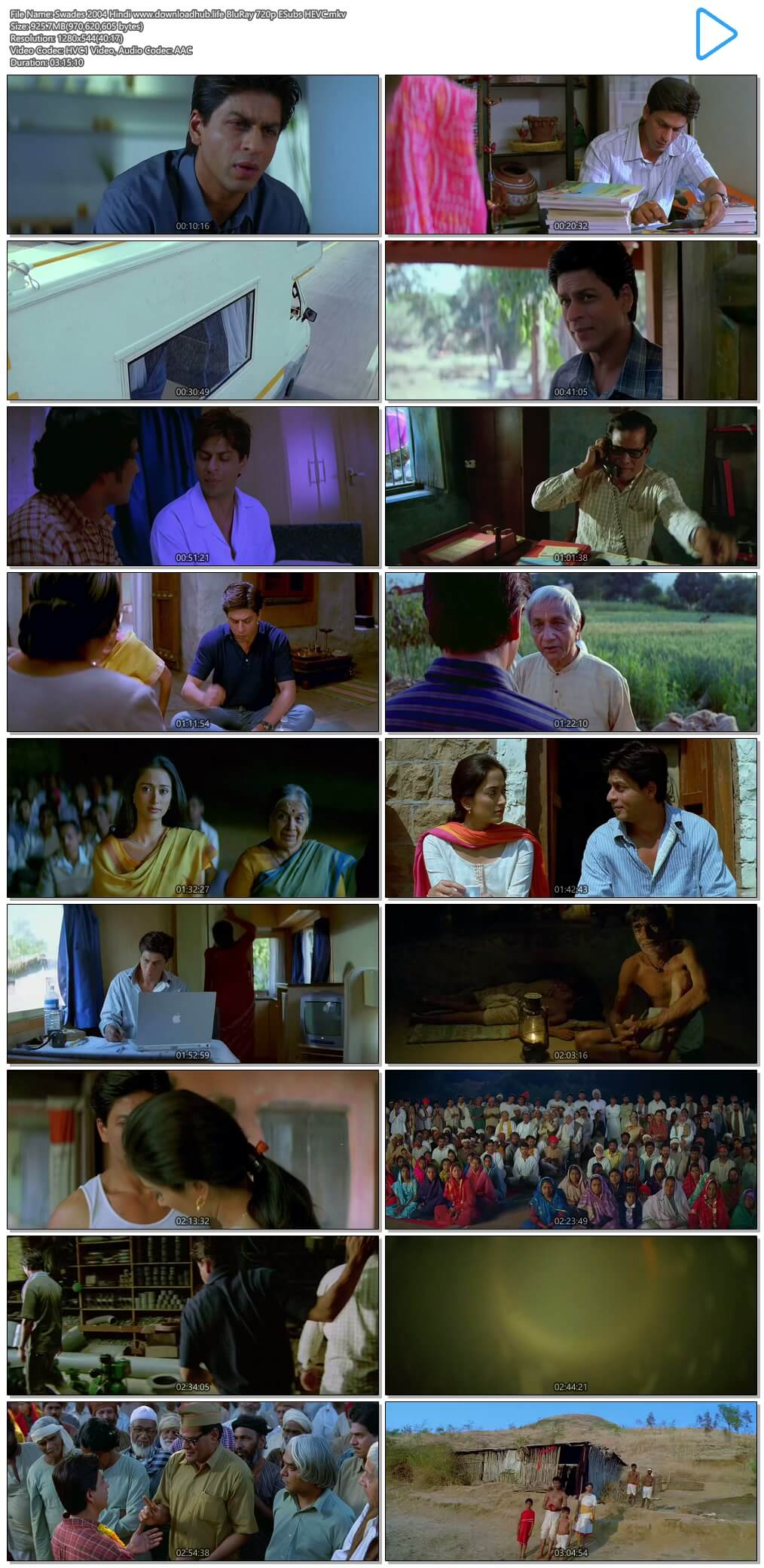 Swades 2004 Hindi 900MB BluRay 720p ESubs HEVC