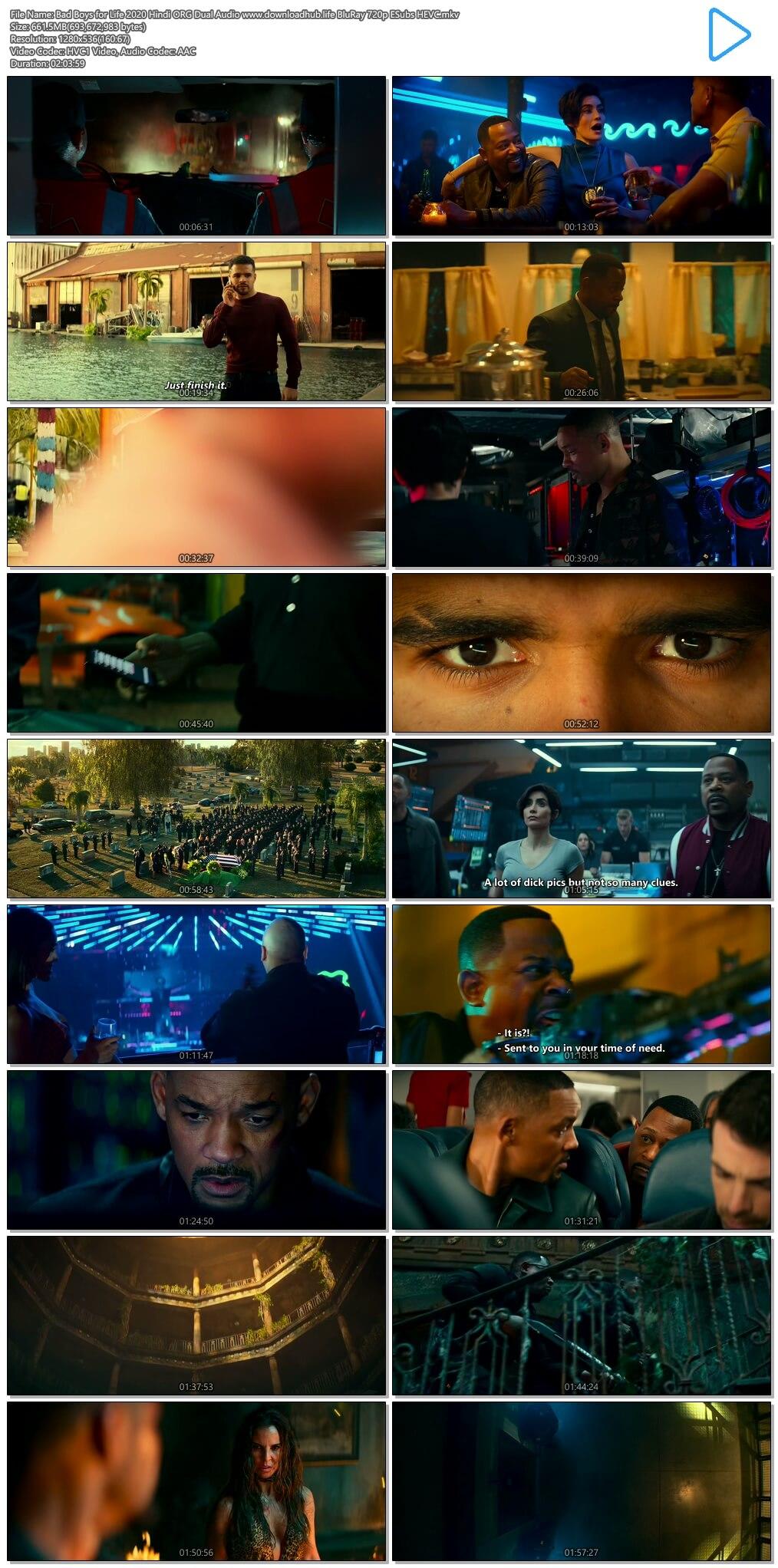 Bad Boys for Life 2020 Hindi ORG Dual Audio 650MB BluRay 720p ESubs HEVC