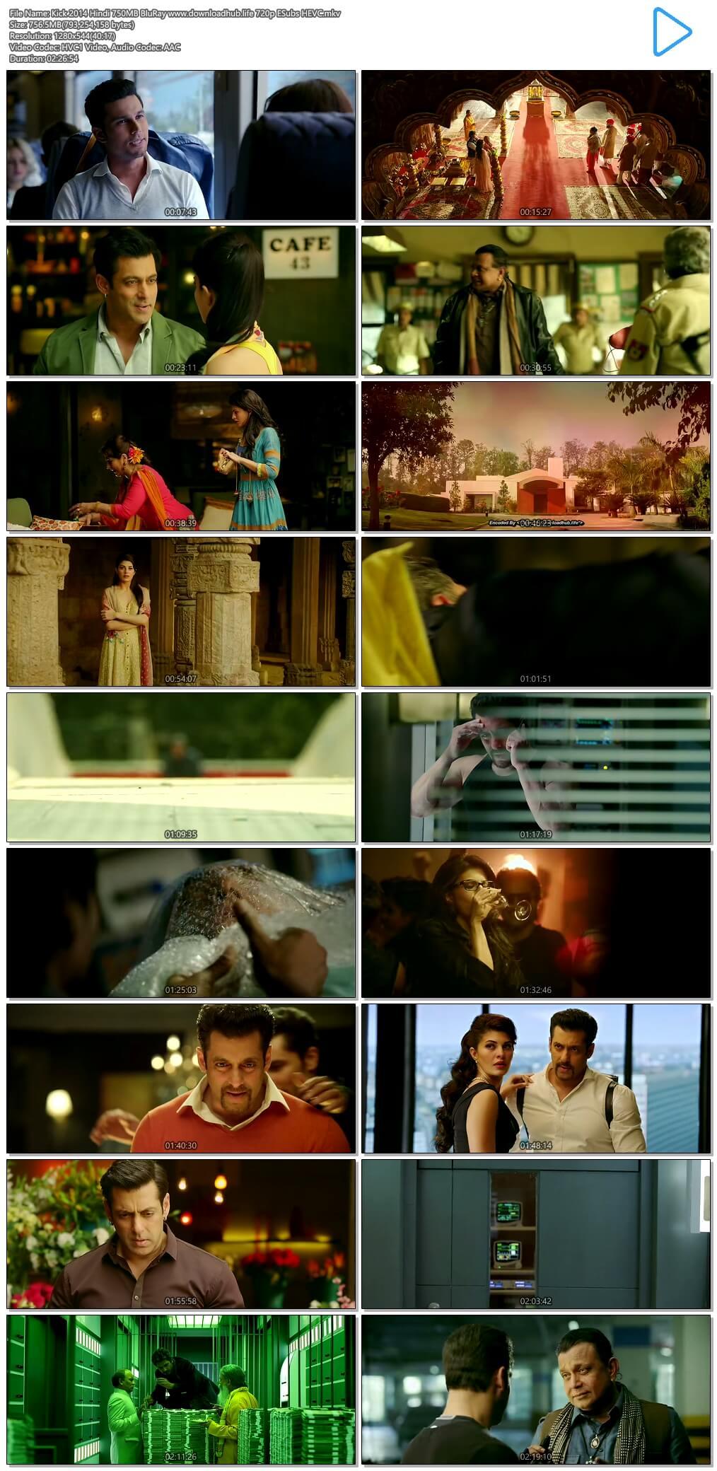 Kick 2014 Hindi 750MB BluRay 720p ESubs HEVC