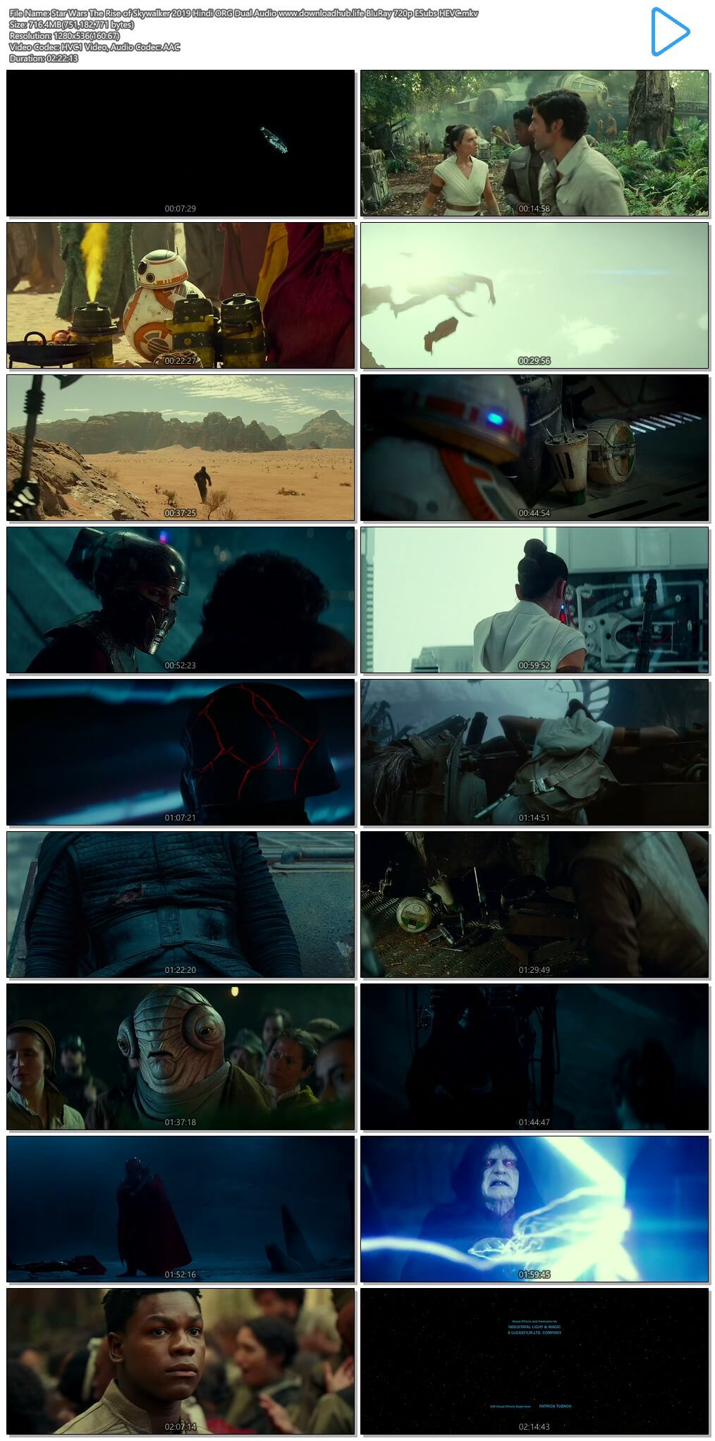 Star Wars The Rise of Skywalker 2019 Hindi ORG Dual Audio 700MB BluRay 720p ESubs HEVC