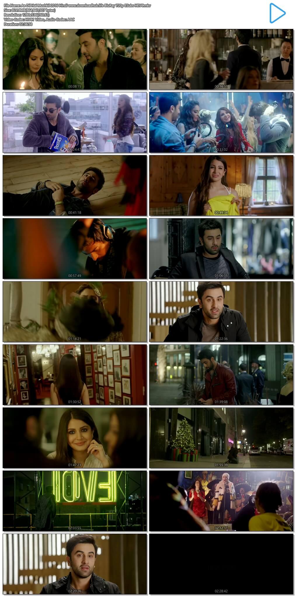 Ae Dil Hai Mushkil 2016 Hindi 800MB BluRay 720p ESubs HEVC