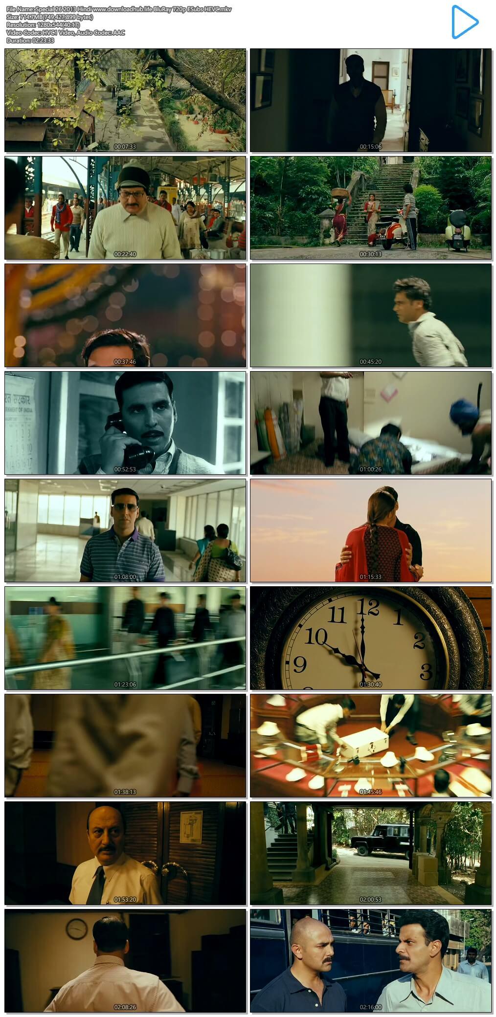 Special 26 2013 Hindi 700MB BluRay 720p ESubs HEVC