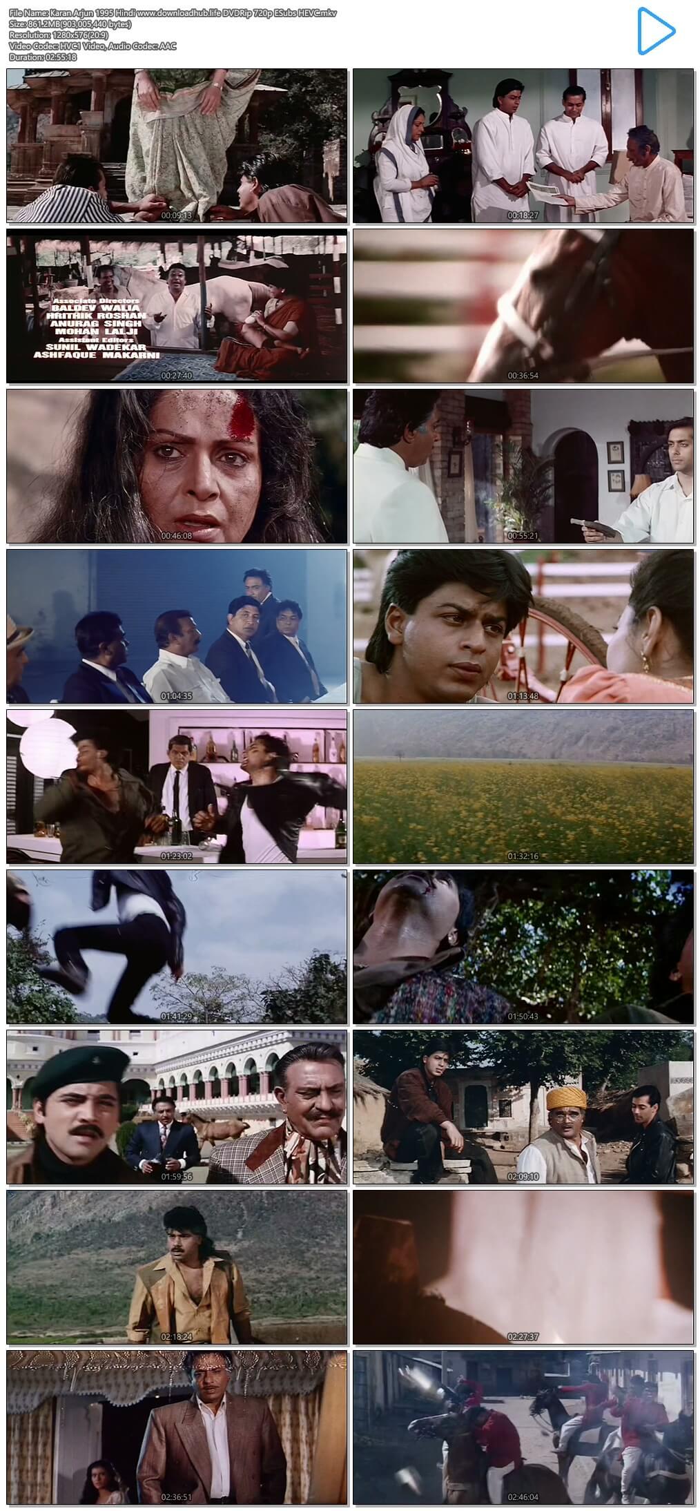 Karan Arjun 1995 Hindi 850MB DVDRip 720p ESubs HEVC