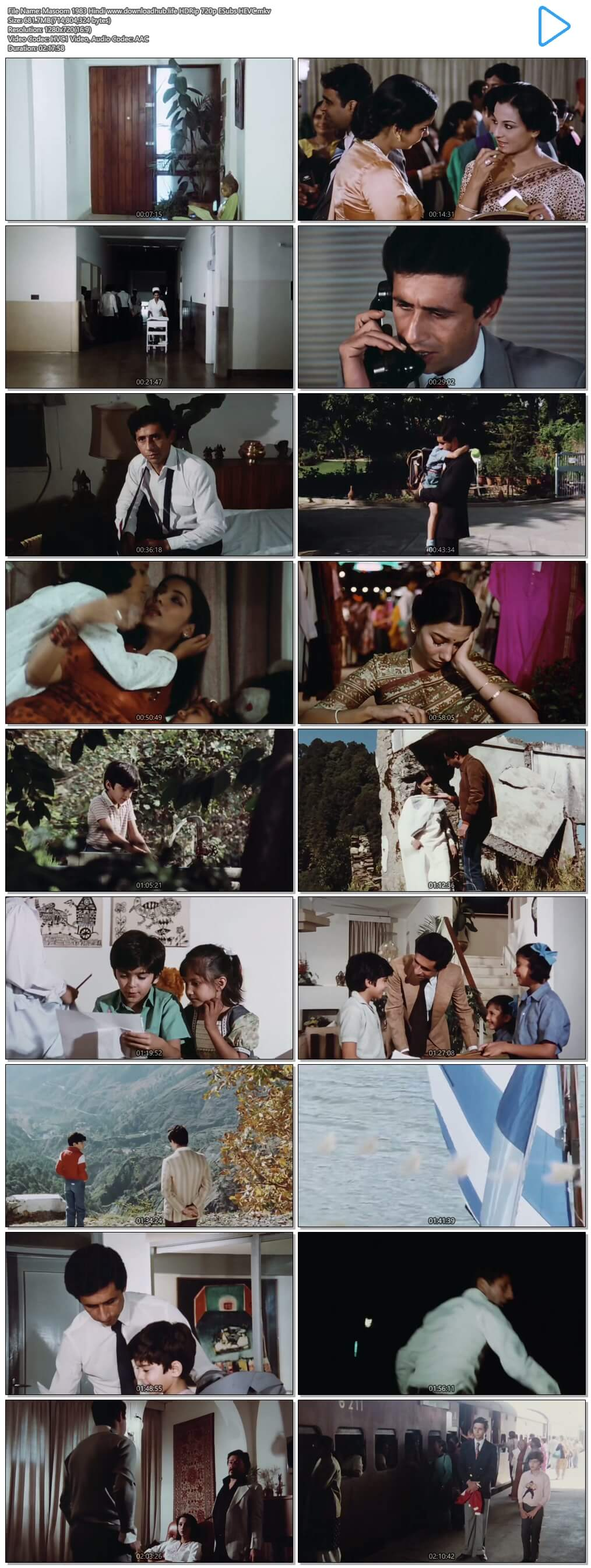 Masoom 1983 Hindi 650MB HDRip 720p ESubs HEVC