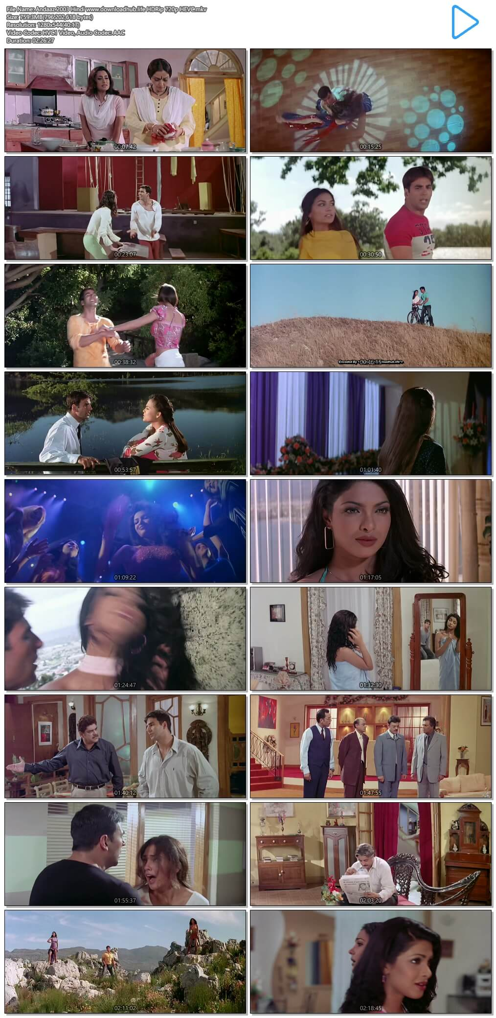 Andaaz 2003 Hindi 750MB HDRip 720p HEVC