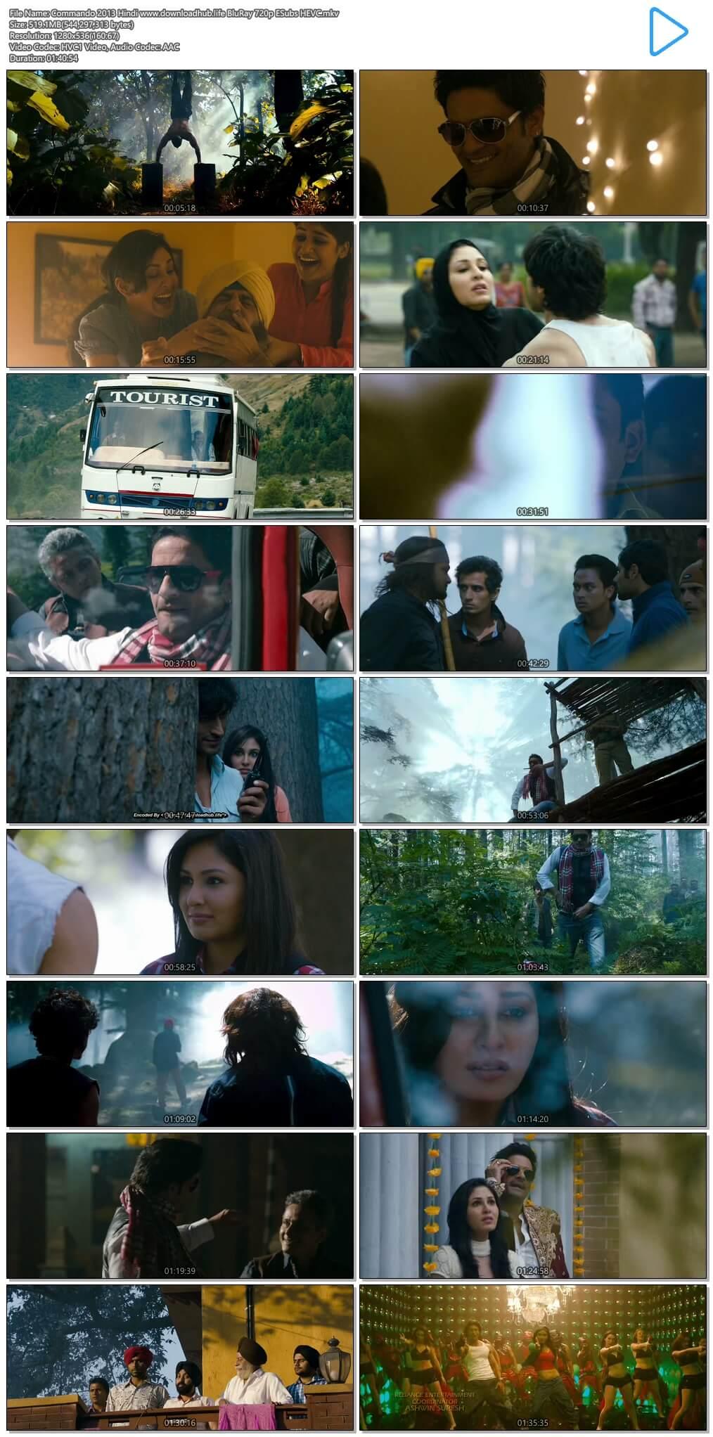 Commando 2013 Hindi 500MB BluRay 720p ESubs HEVC
