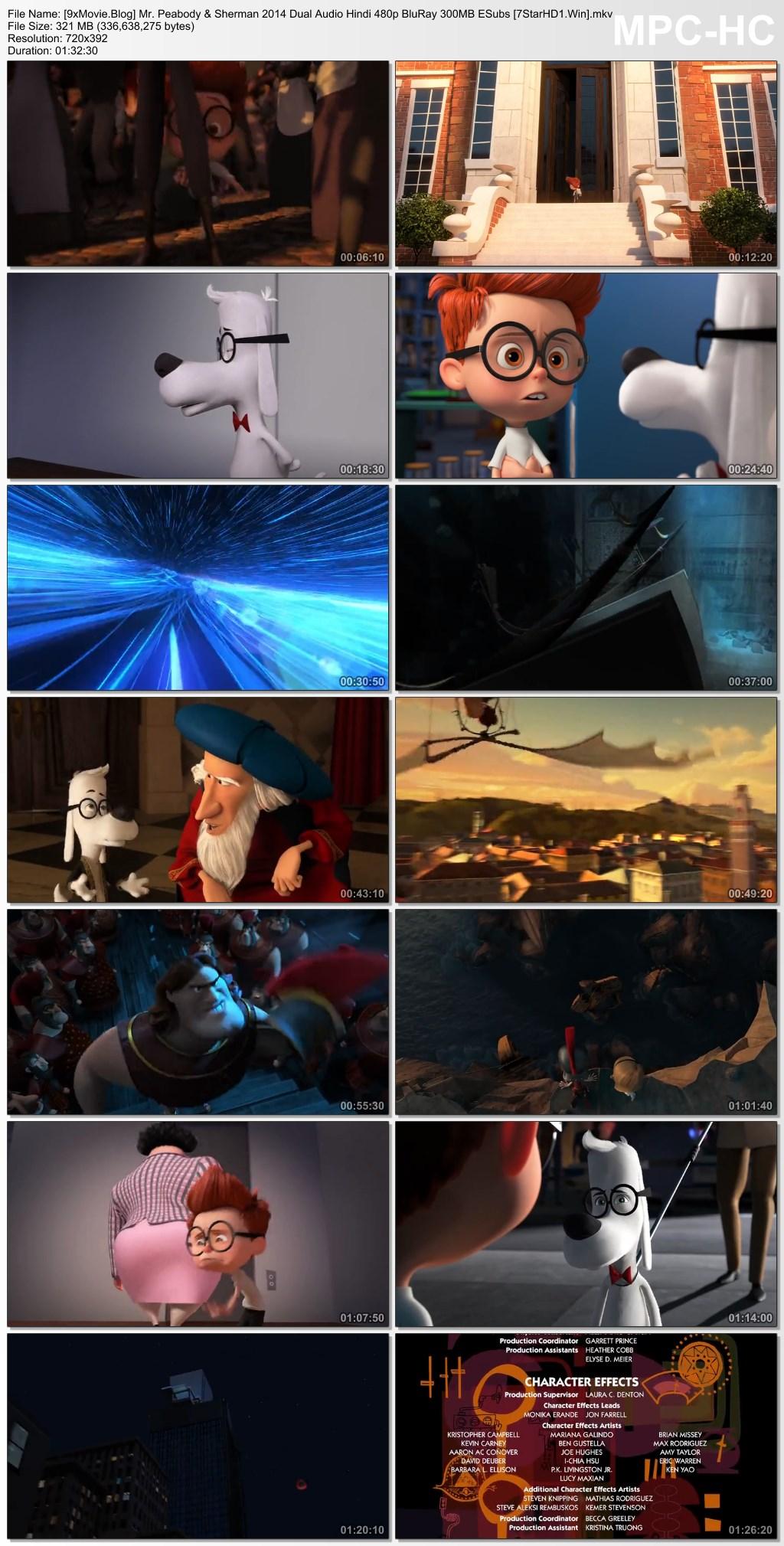 Mr. Peabody & Sherman 2014 Dual Audio Hindi 480p BluRay x264 300MB ESubs