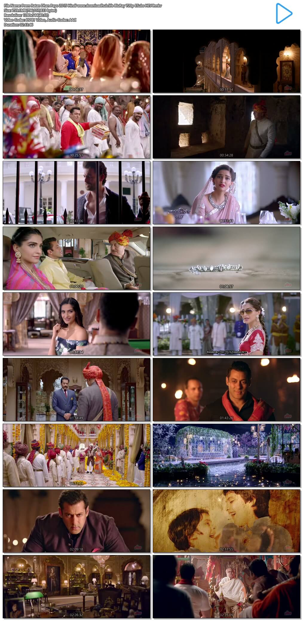 Prem Ratan Dhan Payo 2015 Hindi 750MB BluRay 720p ESubs HEVC