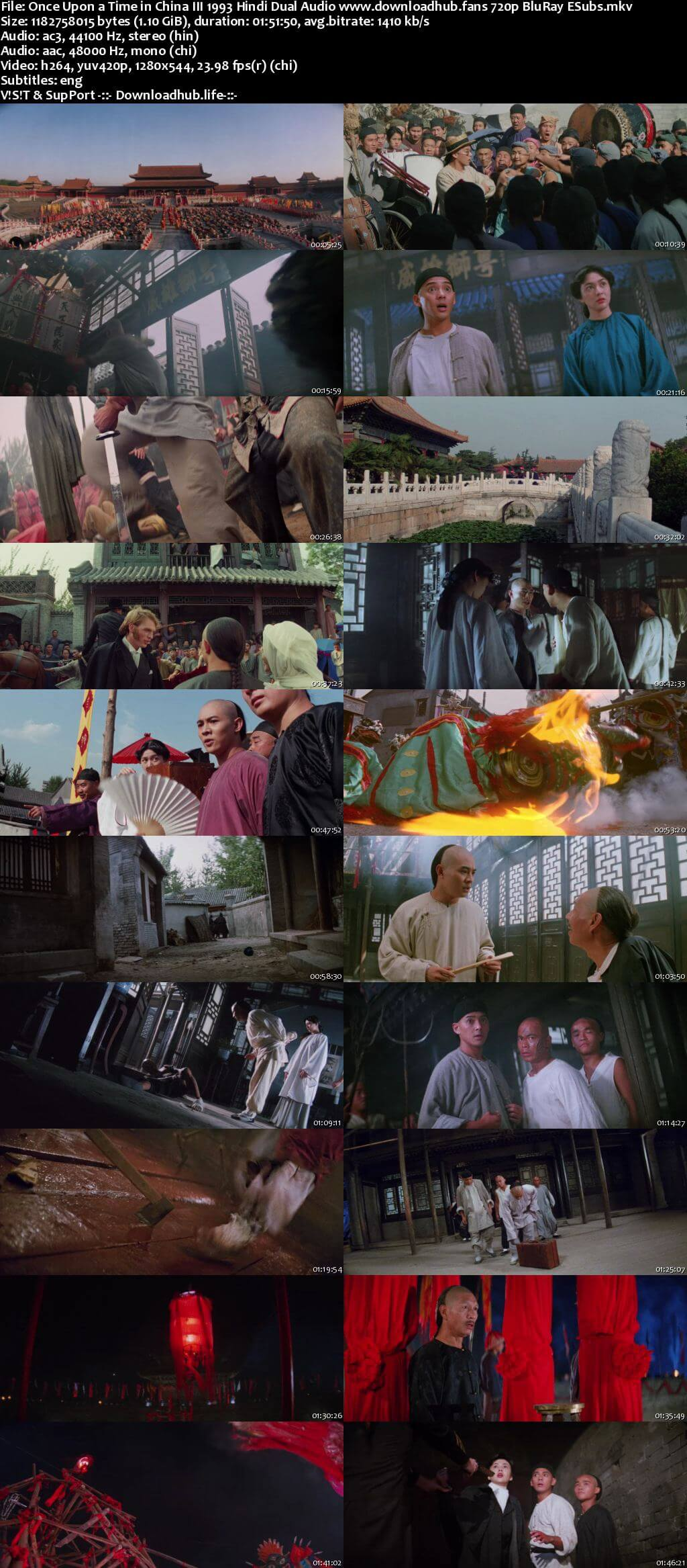 Once Upon a Time in China III 1993 Hindi Dual Audio 720p BluRay ESubs