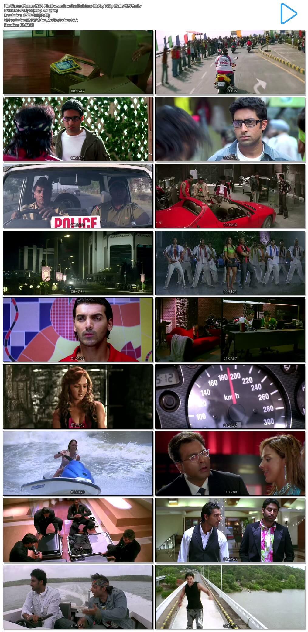 Dhoom 2004 Hindi 650MB BluRay 720p ESubs HEVC