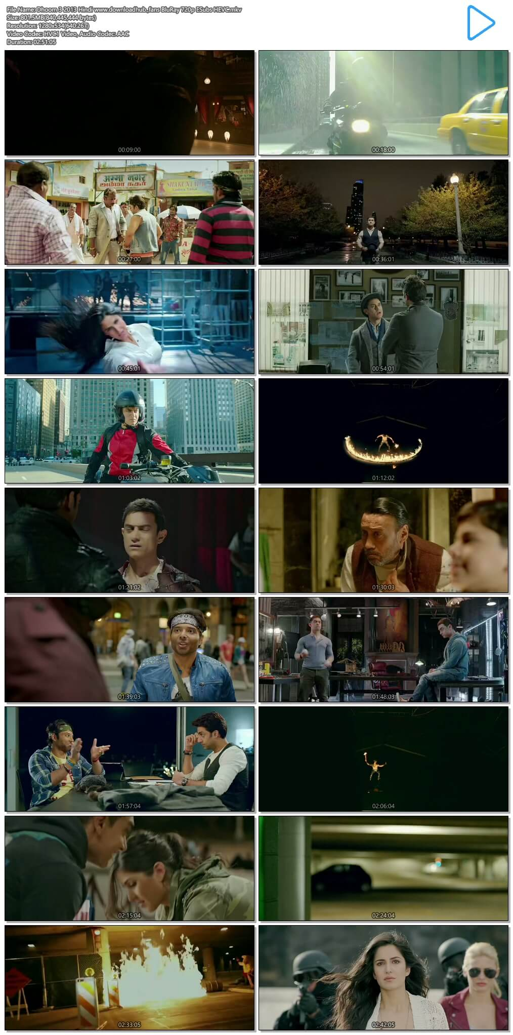 Dhoom 3 2013 Hindi 800MB BluRay 720p ESubs HEVC