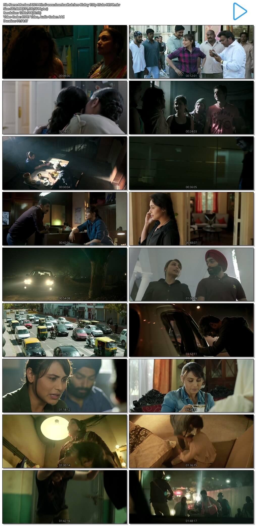 Mardaani 2014 Hindi 550MB BluRay 720p ESubs HEVC
