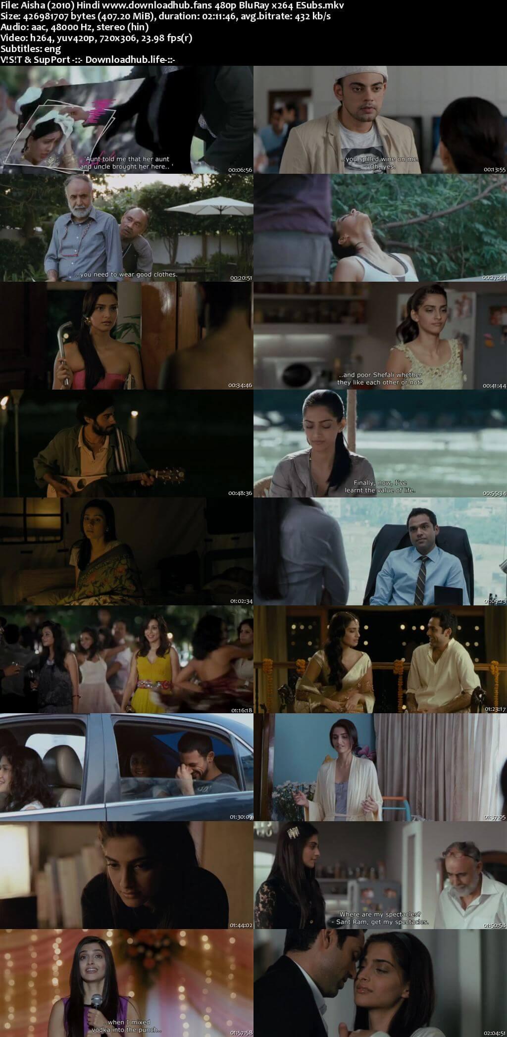 Aisha 2010 Hindi 400MB BluRay 480p ESubs