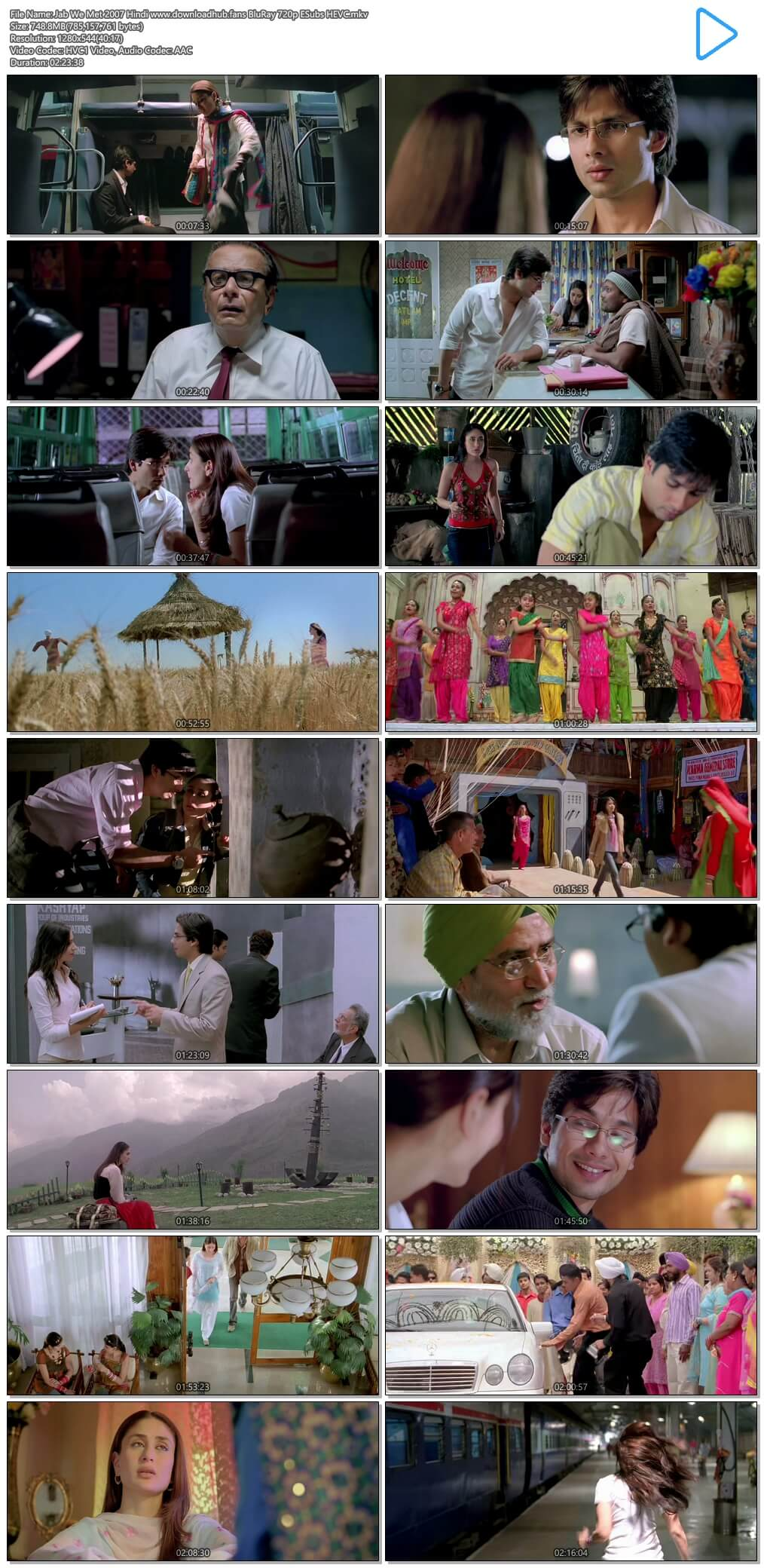 Jab We Met 2007 Hindi 750MB BluRay 720p ESubs HEVC