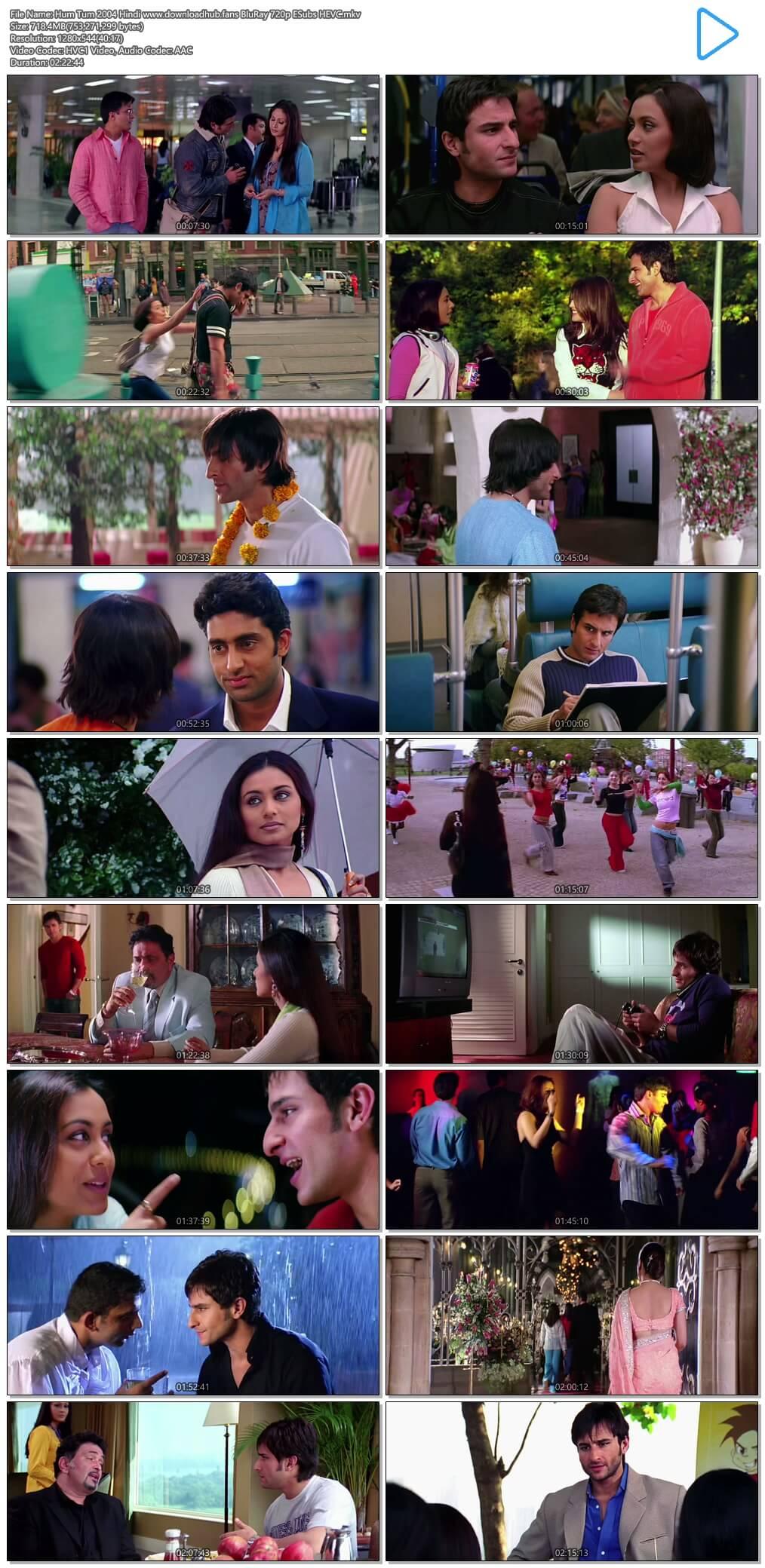 Hum Tum 2004 Hindi 700MB BluRay 720p ESubs HEVC