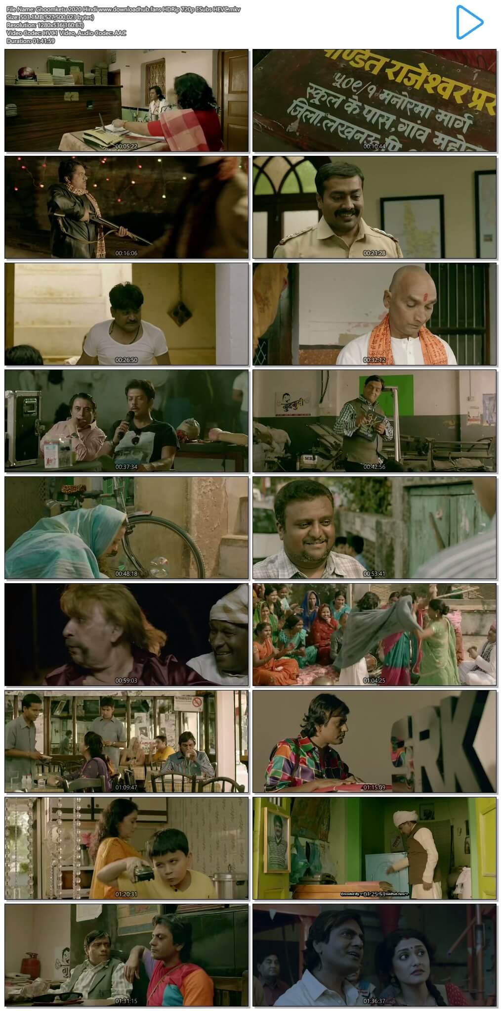 Ghoomketu 2020 Hindi 500MB HDRip 720p ESubs HEVC