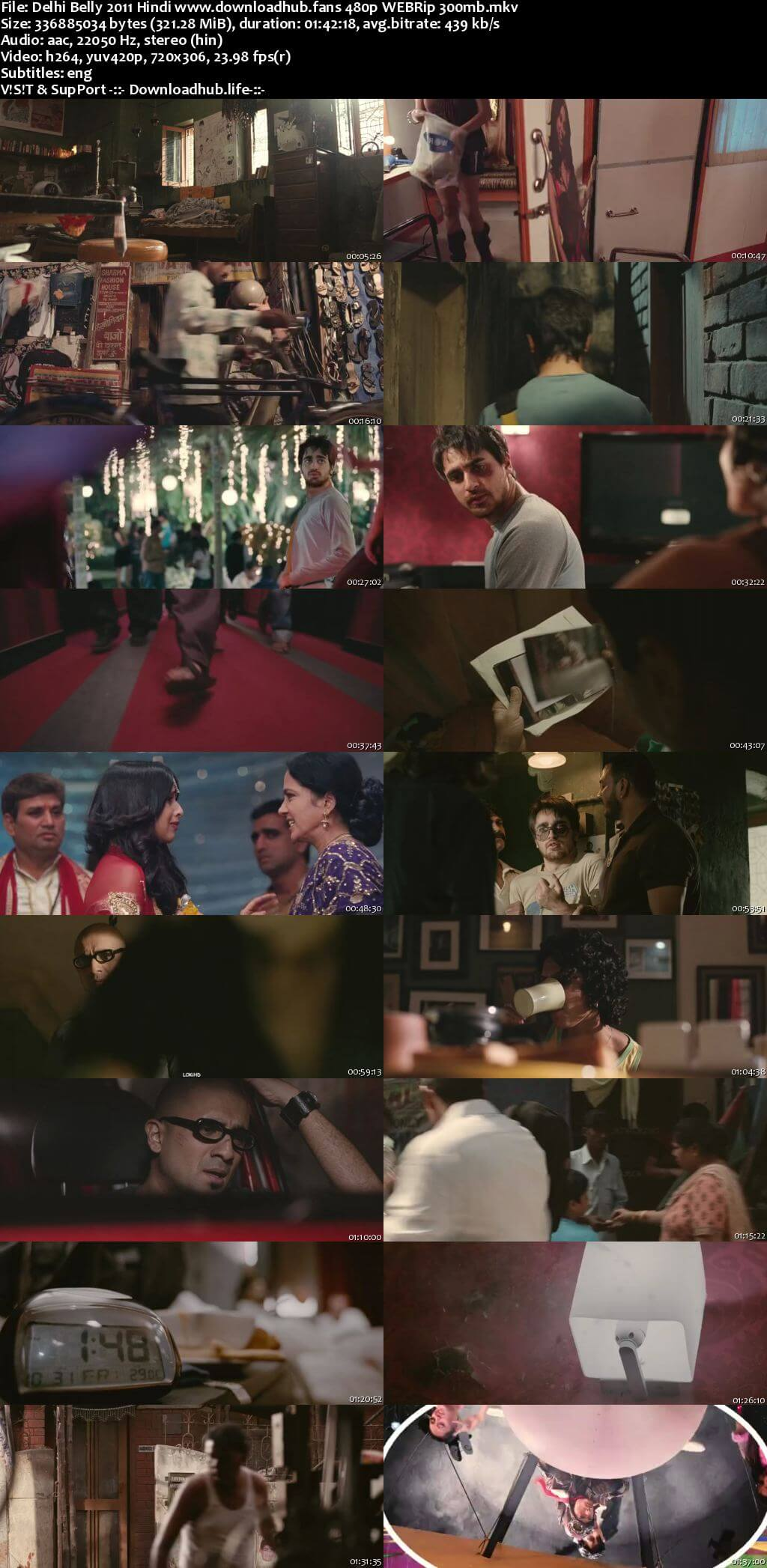 Delhi Belly 2011 Hindi 300MB HDRip 480p ESubs