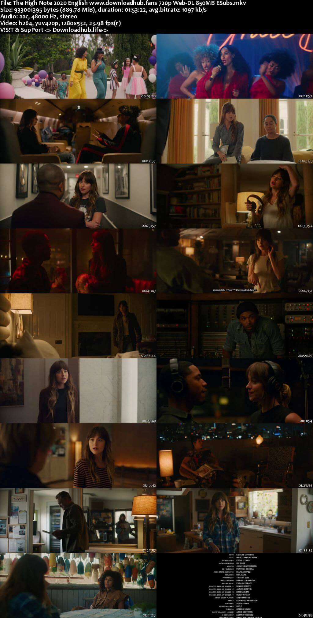 The High Note 2020 English 720p Web-DL 850MB ESubs