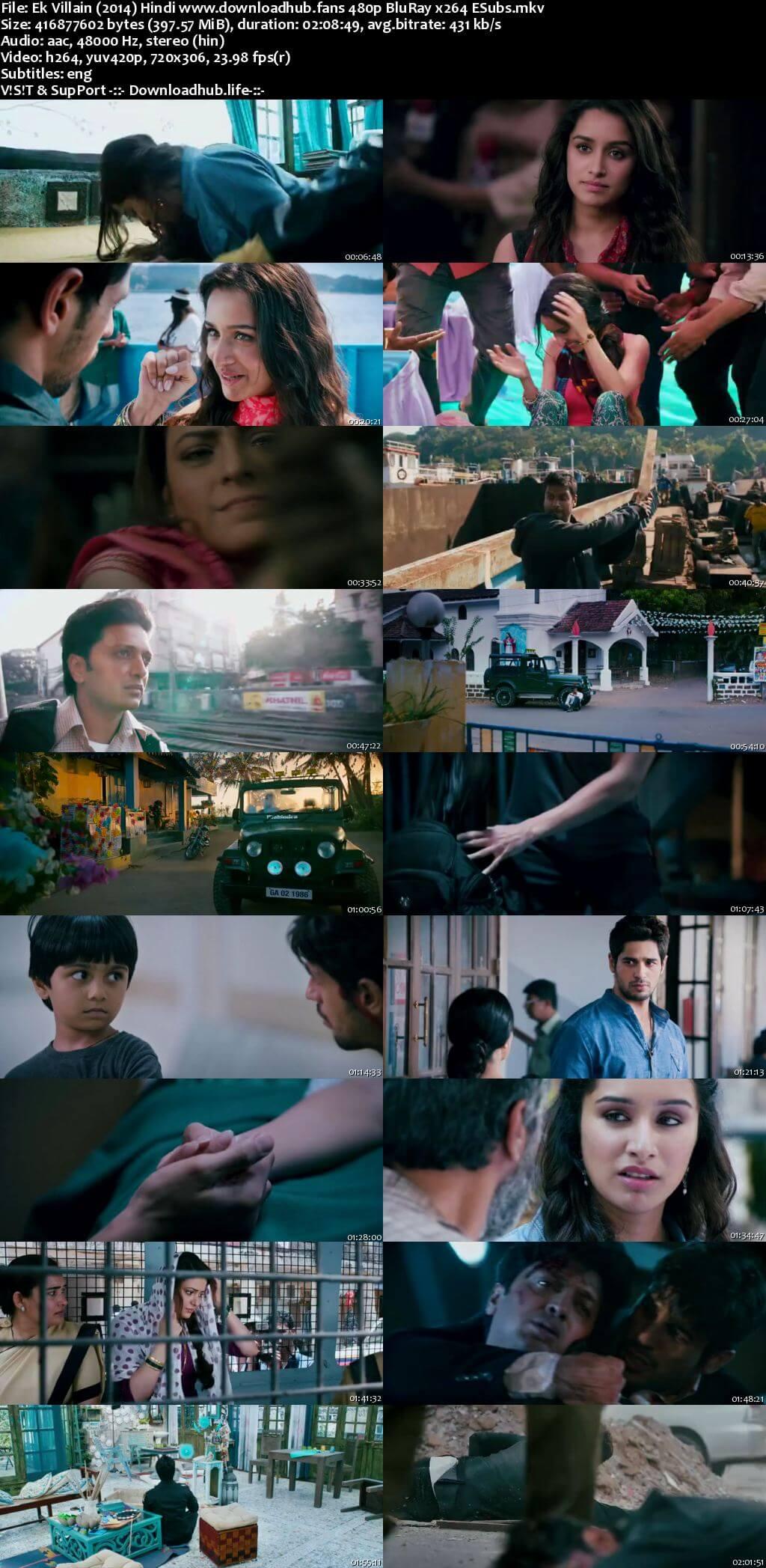 Ek Villain 2014 Hindi 400MB BluRay 480p ESubs