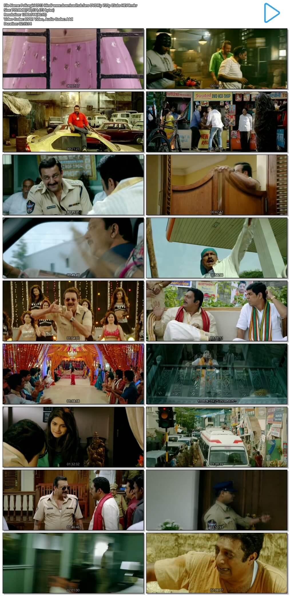Policegiri 2013 Hindi 700MB DVDRip 720p ESubs HEVC