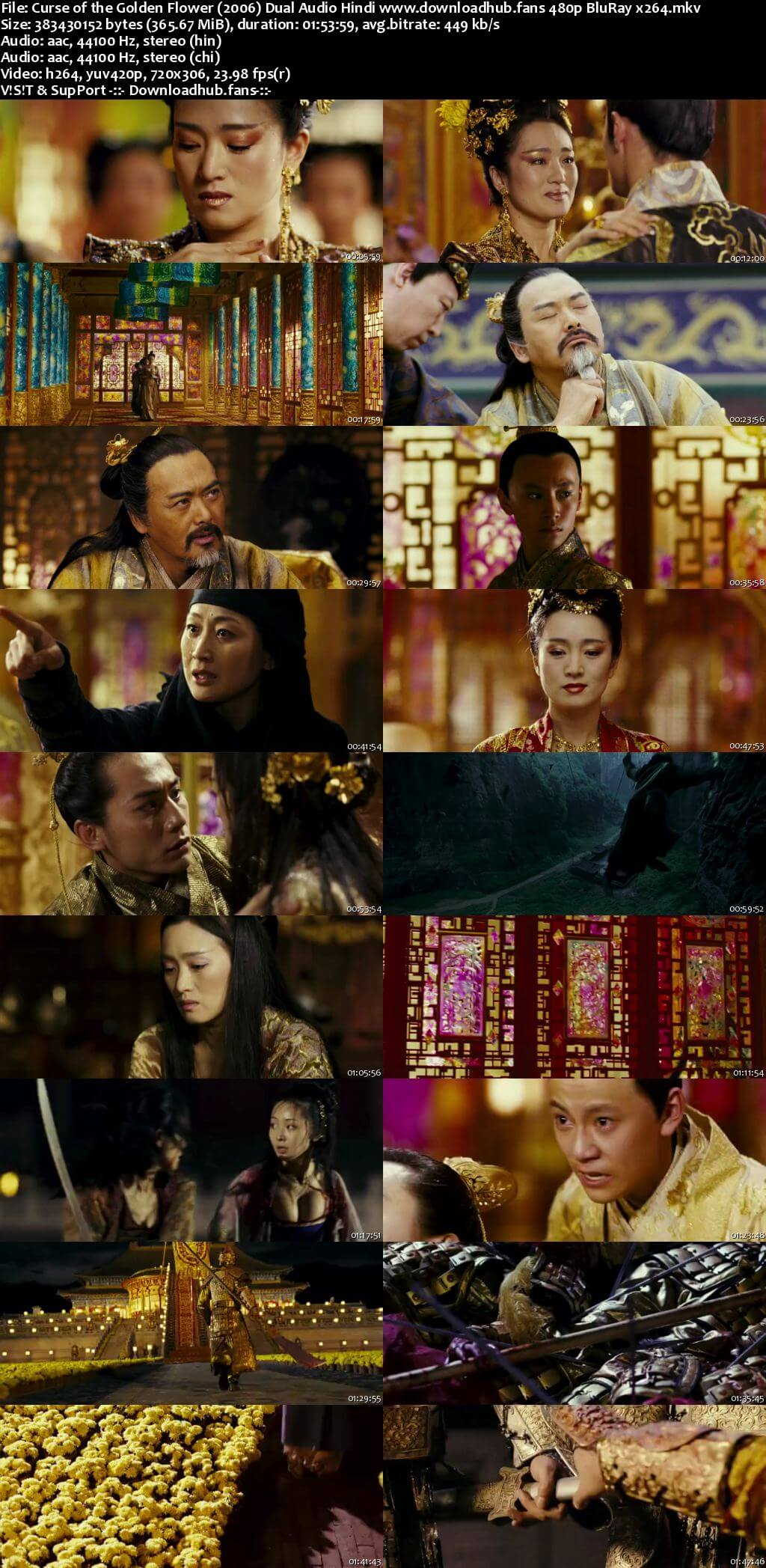 Curse of the Golden Flower 2006 Hindi Dual Audio 350MB BluRay 480p