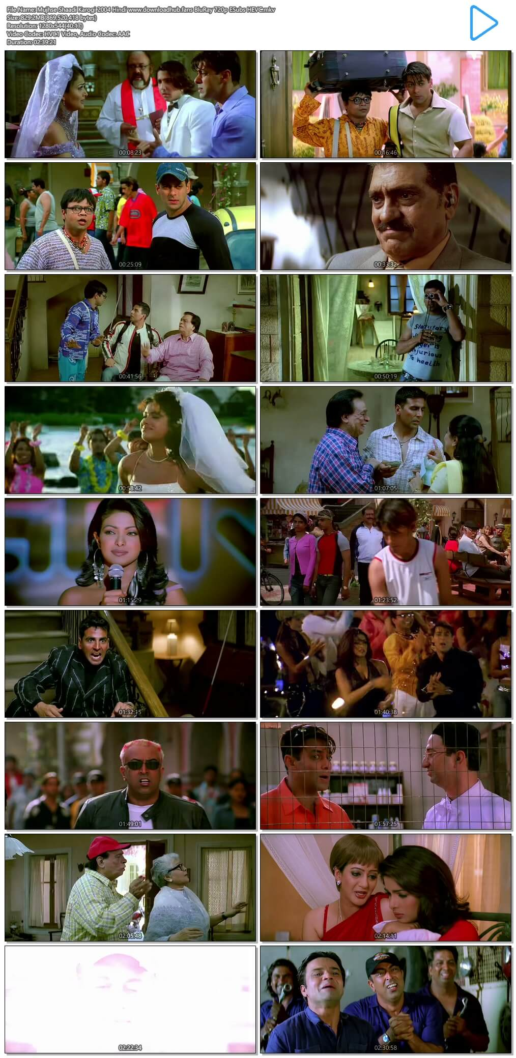 Mujhse Shaadi Karogi 2004 Hindi 800MB BluRay 720p ESubs HEVC