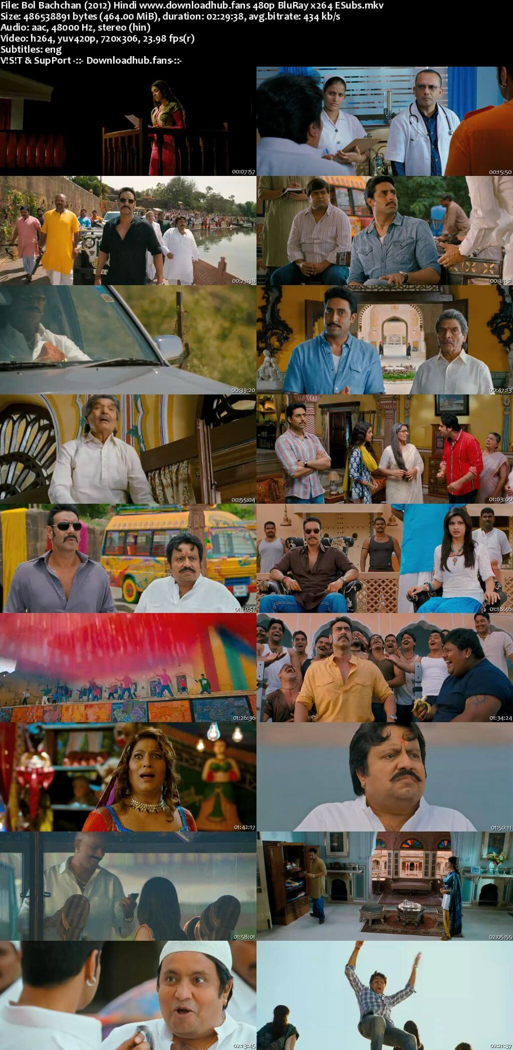 Bol Bachchan 2012 Hindi 450MB BluRay 480p ESubs