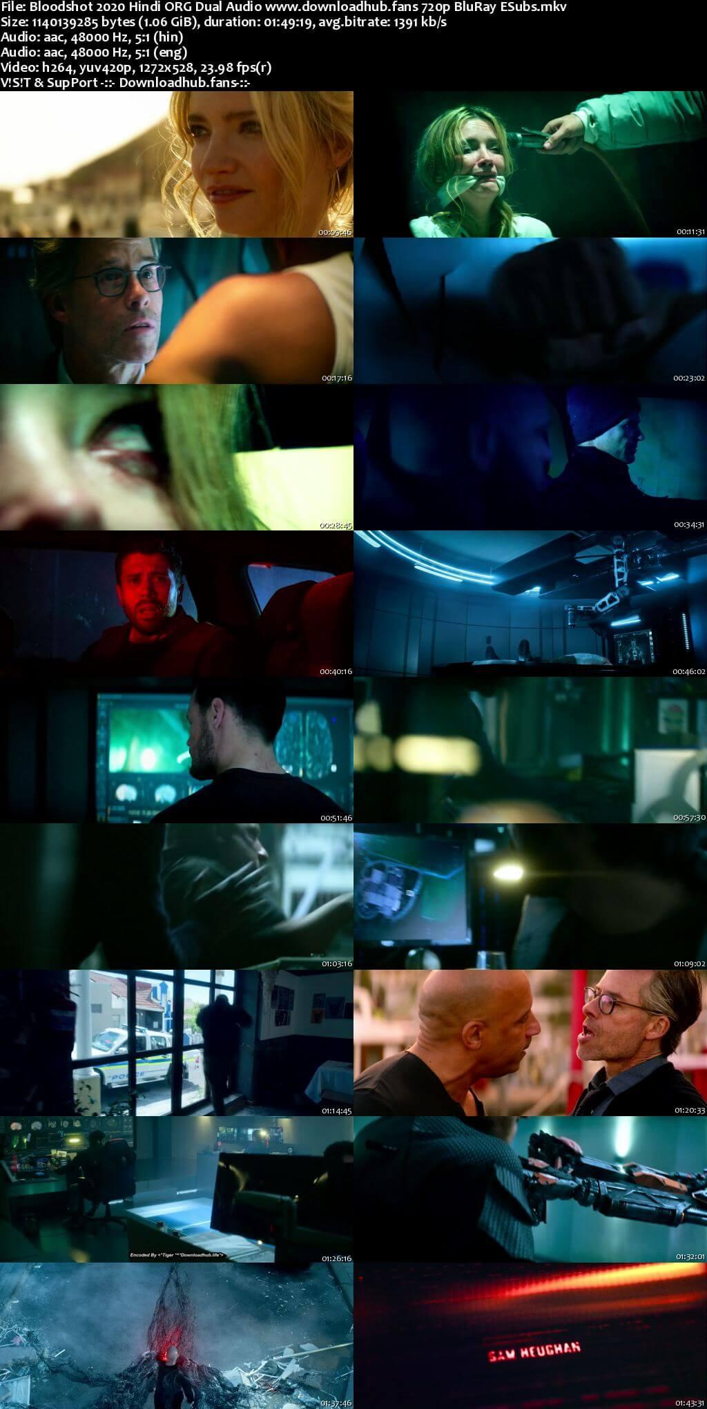 Bloodshot 2020 Hindi ORG Dual Audio 720p BluRay ESubs