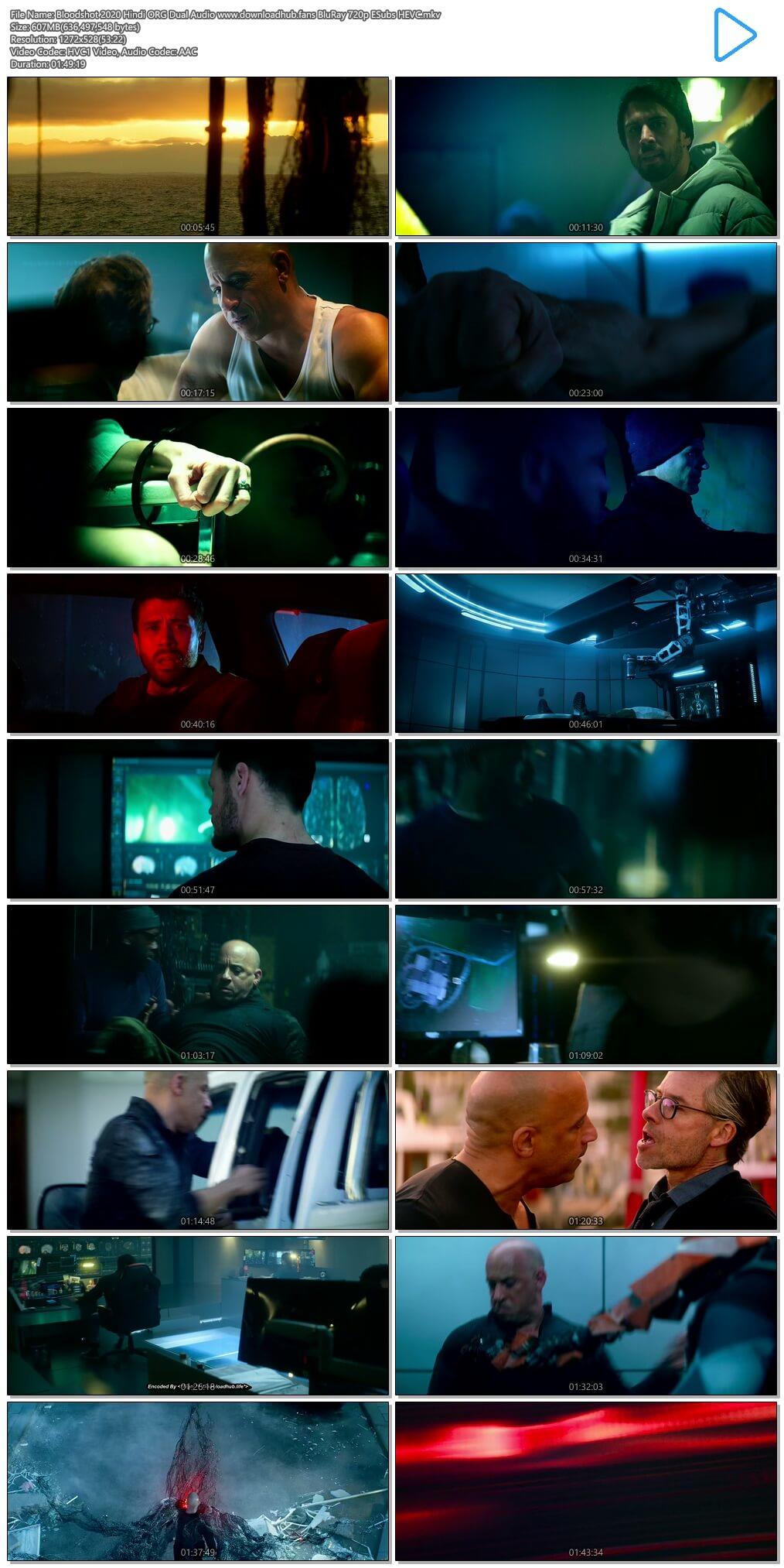 Bloodshot 2020 Hindi ORG Dual Audio 600MB BluRay 720p ESubs HEVC