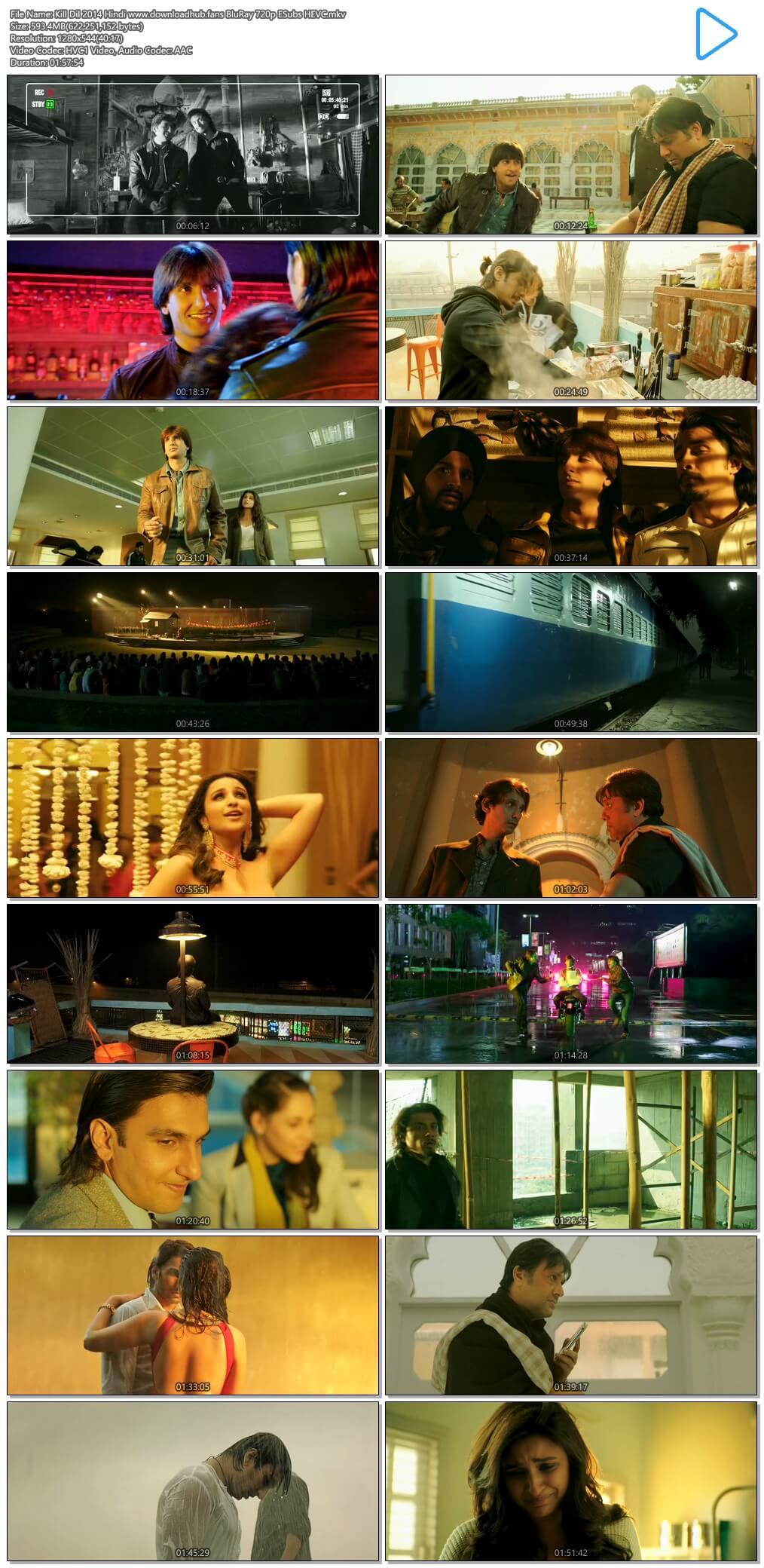 Kill Dil 2014 Hindi 600MB BluRay 720p ESubs HEVC