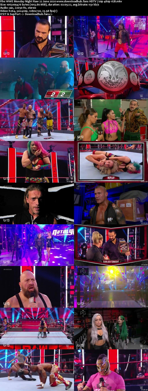 WWE Monday Night Raw 22nd June 2020 720p 500MB HDTVRip 480p