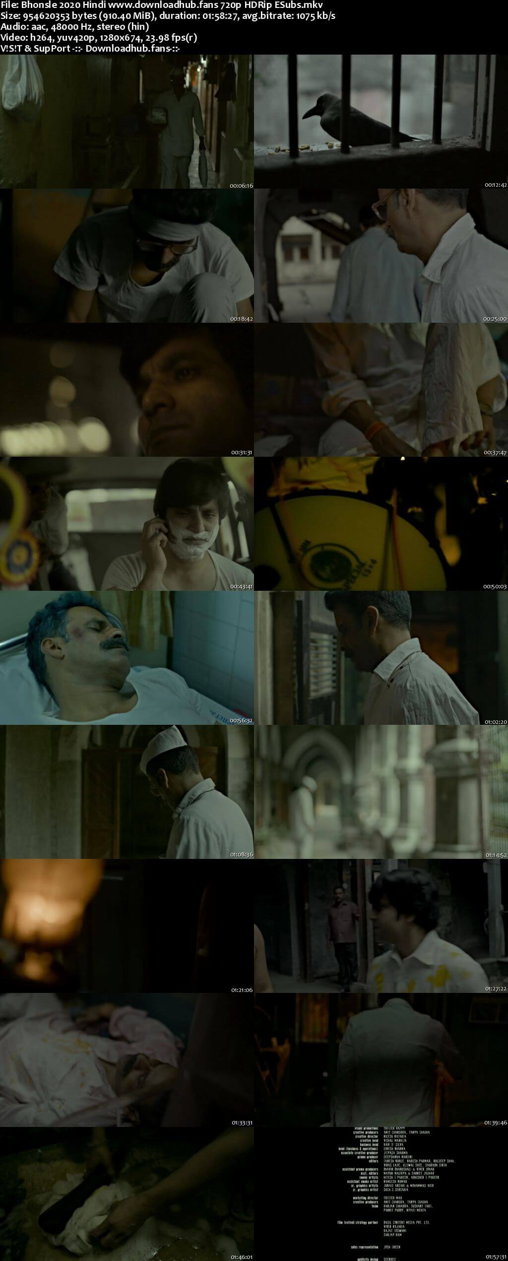 Bhonsle 2020 Hindi 720p HDRip ESubs