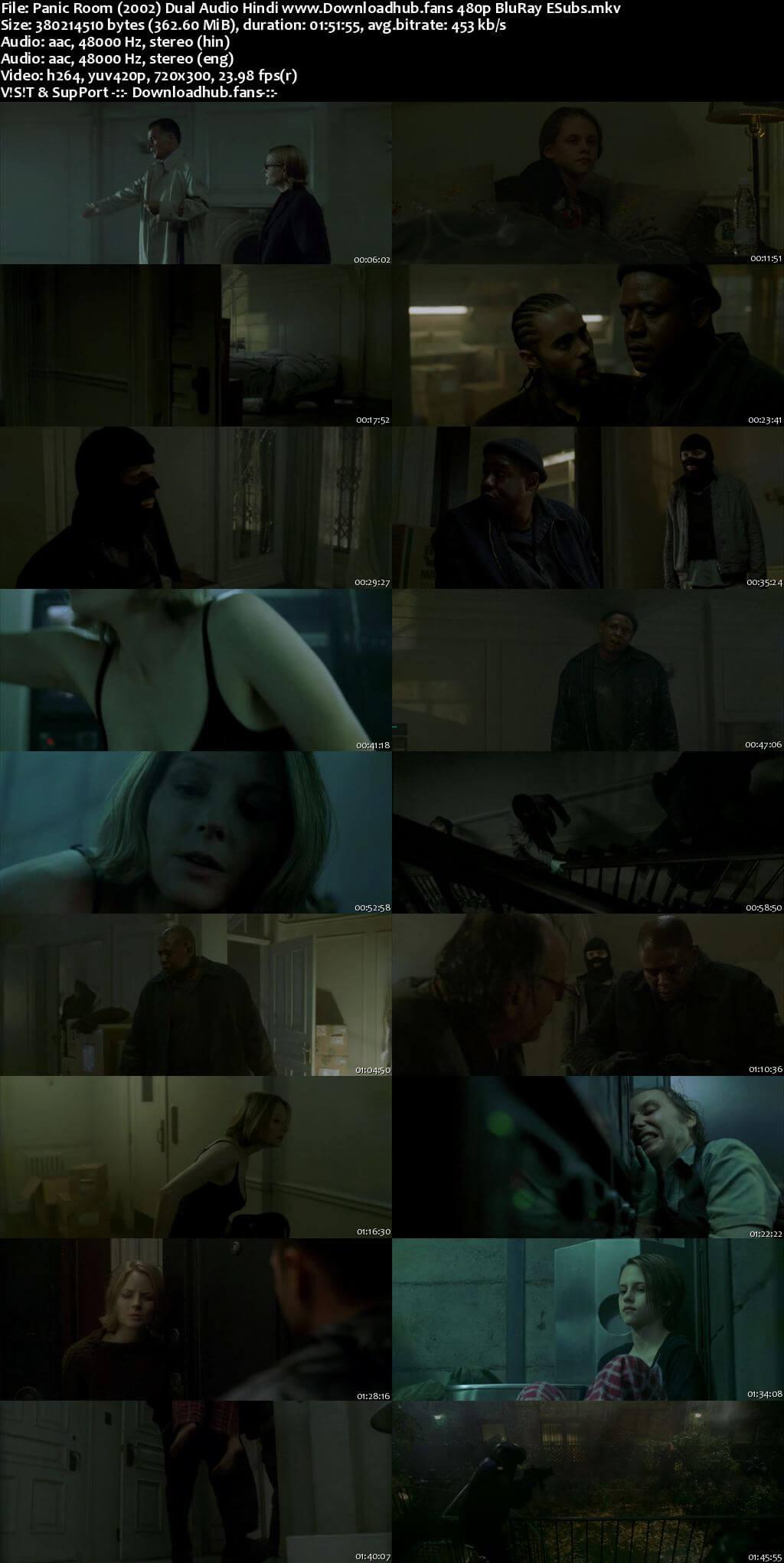 Panic Room 2002 Hindi Dual Audio 350MB BluRay 480p ESubs