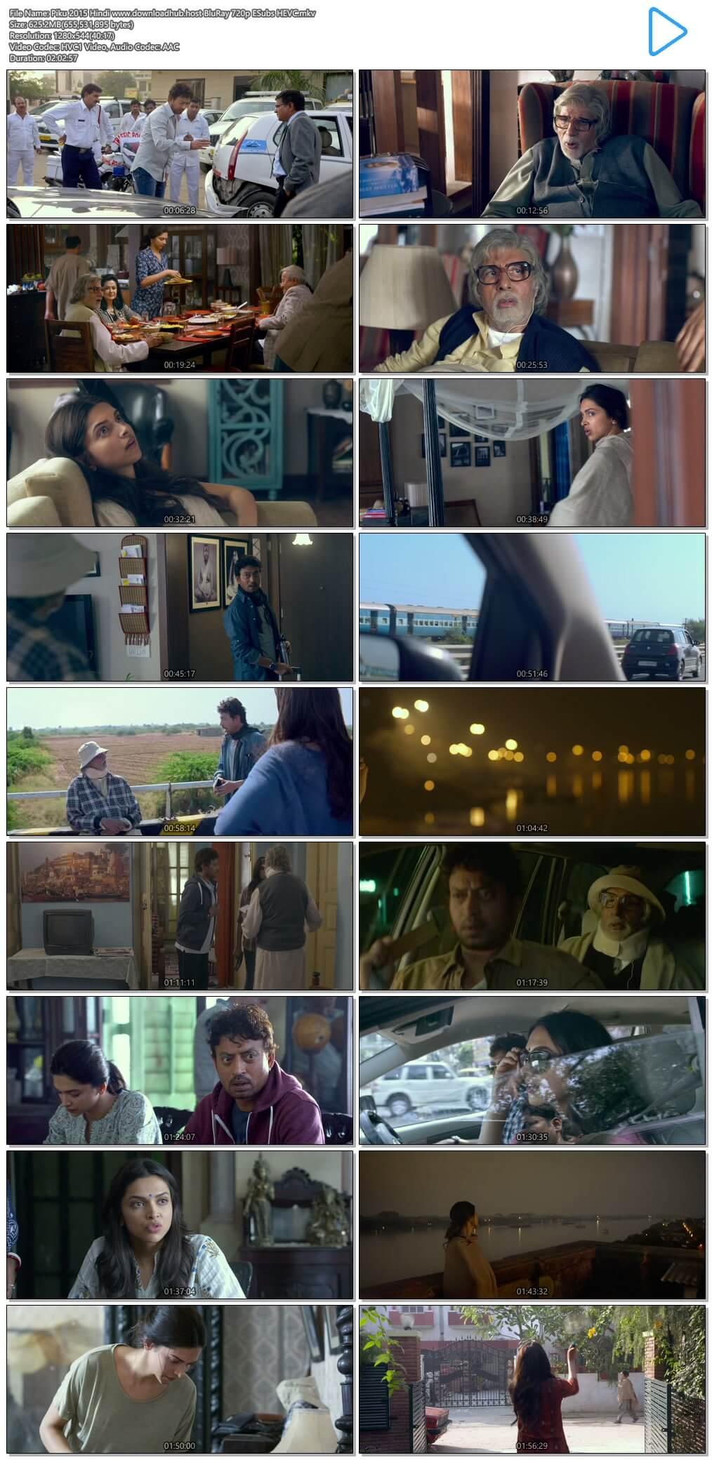 Piku 2015 Hindi 600MB BluRay 720p ESubs HEVC