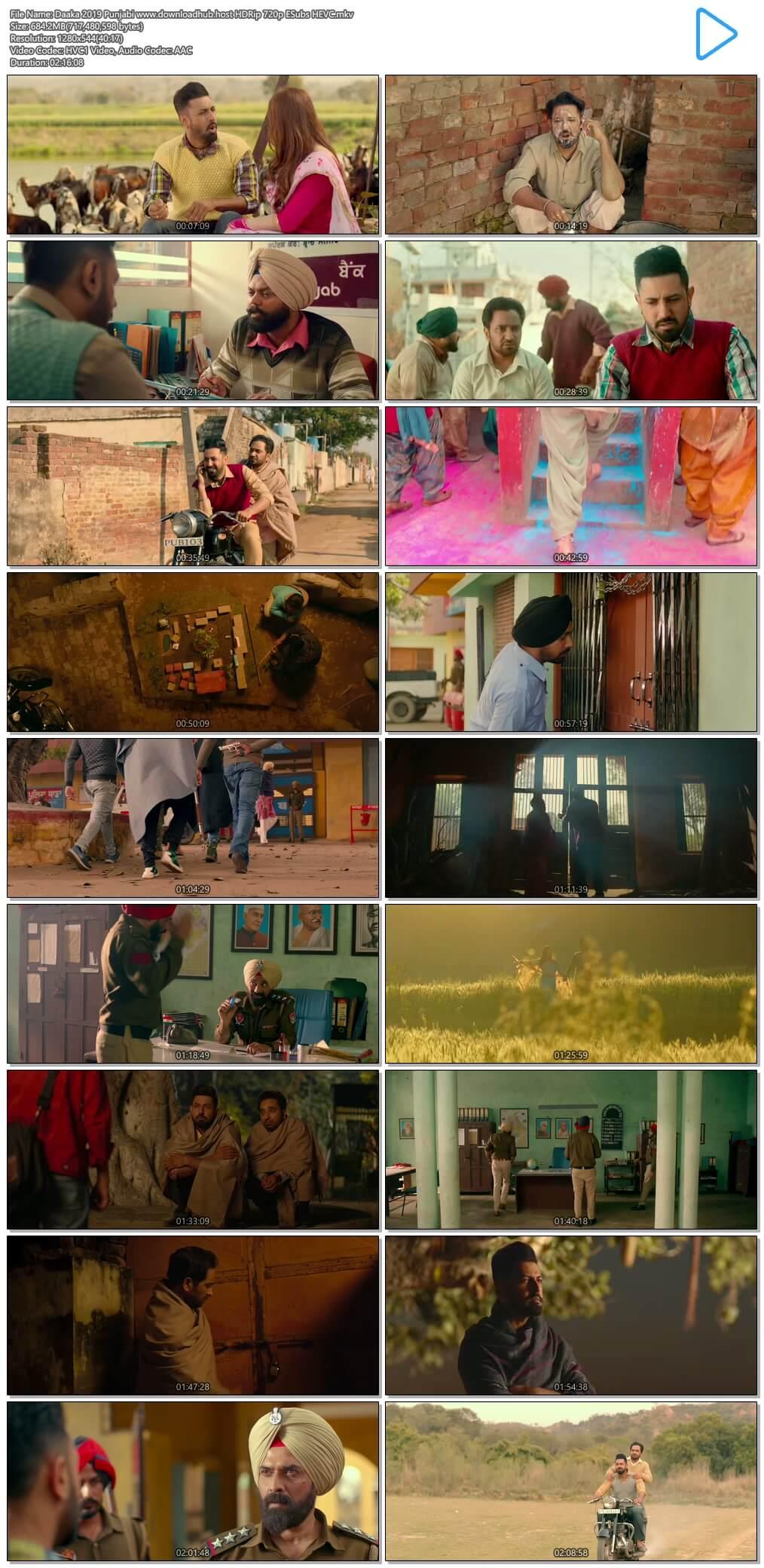 Daaka 2019 Punjabi 650MB HDRip 720p ESubs HEVC