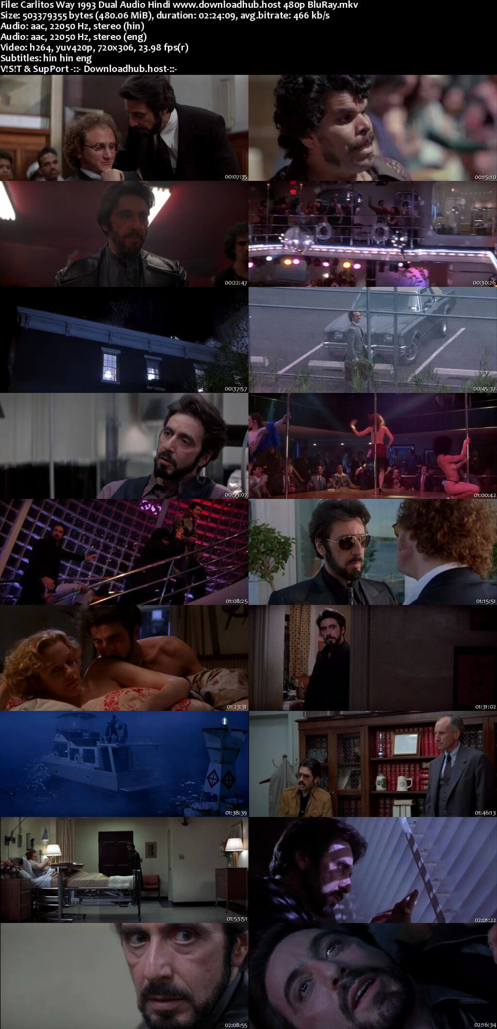 Carlitos Way 1993 Hindi Dual Audio 450MB BluRay 480p ESubs
